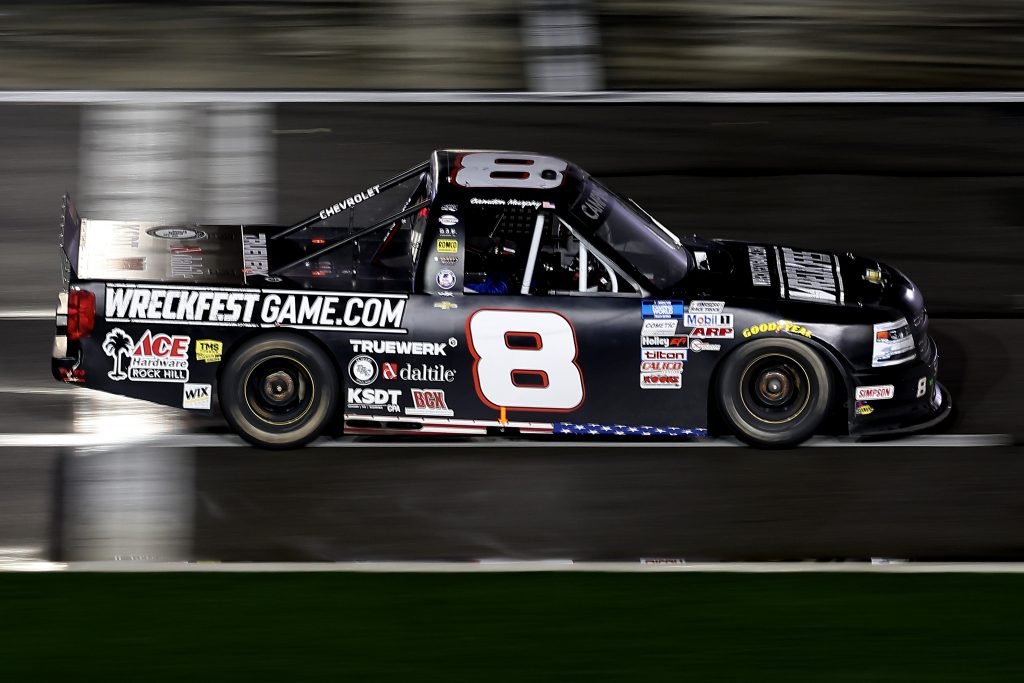 DAYTONA BEACH, FLORIDA - FEBRUARY 19: Camden Murphy, driver of the #8 WRECKFESTGAME.com Ford, drives during the NASCAR Camping World Truck Series BrakeBest Brake Pads 159 At Daytona Presented by O'Reilly at Daytona International Speedway on February 19, 2021 in Daytona Beach, Florida. (Photo by James Gilbert/Getty Images) | Getty Images