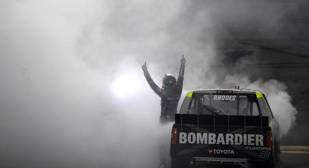 DAYTONA BEACH, FLORIDA - FEBRUARY 19: Ben Rhodes, driver of the #99 Bombardier LearJet 75 Toyota, celebrates with a burnout after winning the NASCAR Camping World Truck Series BrakeBest Brake Pads 159 At Daytona Presented by O'Reilly at Daytona International Speedway on February 19, 2021 in Daytona Beach, Florida. (Photo by Chris Graythen/Getty Images)   Getty Images