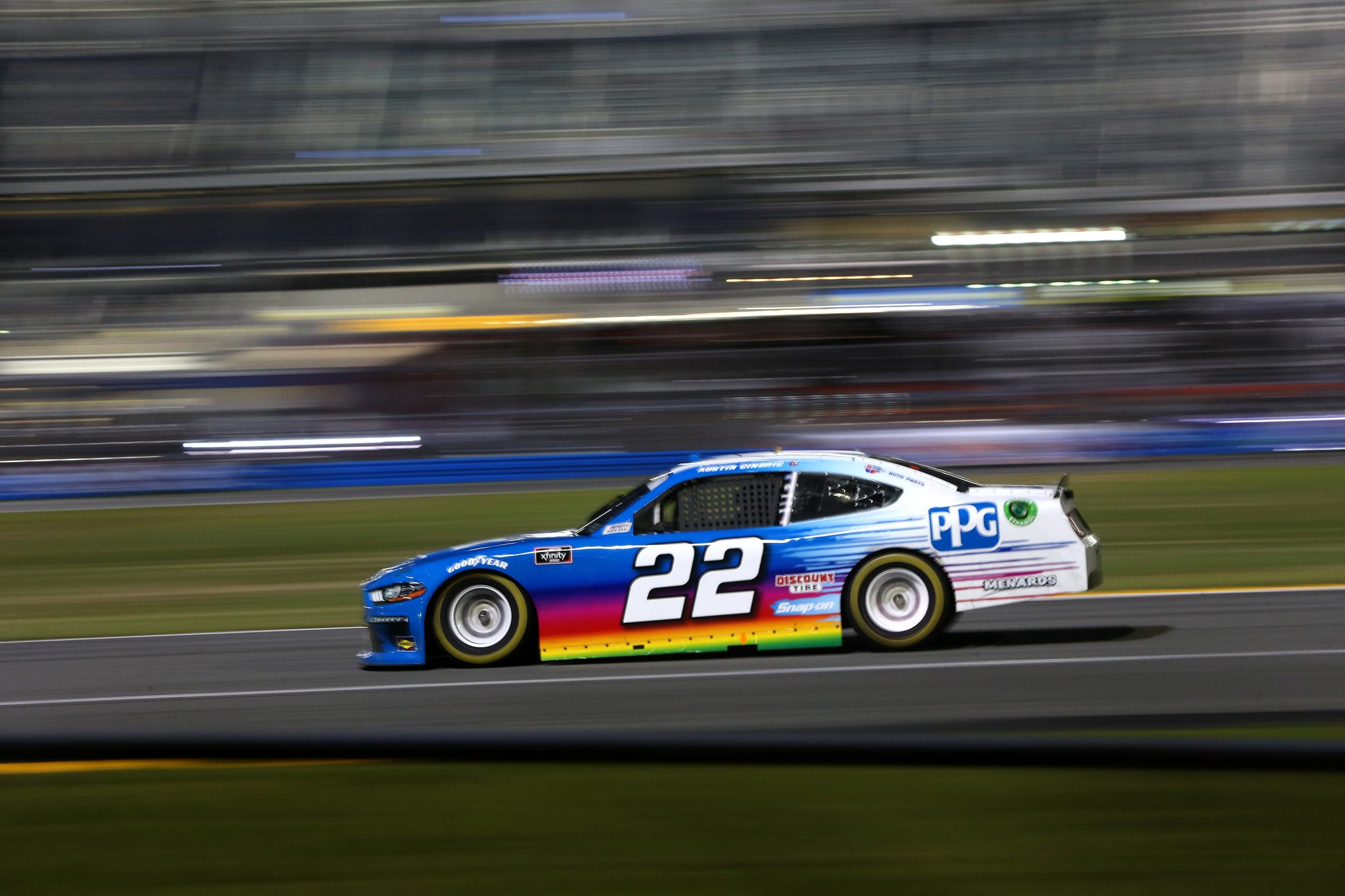 DAYTONA BEACH, FLORIDA - FEBRUARY 20: Austin Cindric, driver of the #22 PPG Ford, drives during the NASCAR Xfinity Super Start Batteries 188 At Daytona Presented by O'Reilly at Daytona International Speedway on February 20, 2021 in Daytona Beach, Florida. (Photo by Brian Lawdermilk/Getty Images) | Getty Images