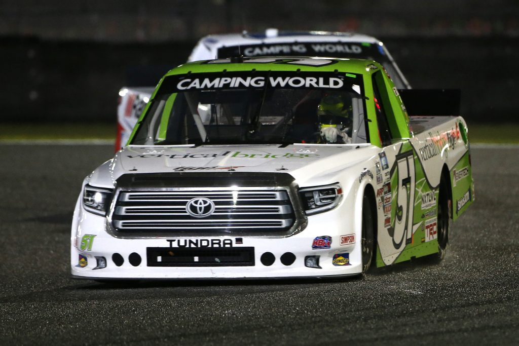 DAYTONA BEACH, FLORIDA - FEBRUARY 19: Parker Chase, driver of the #51 Vertical Bridge Toyota, drives during the NASCAR Camping World Truck Series BrakeBest Brake Pads 159 At Daytona Presented by O'Reilly at Daytona International Speedway on February 19, 2021 in Daytona Beach, Florida. (Photo by Brian Lawdermilk/Getty Images) | Getty Images
