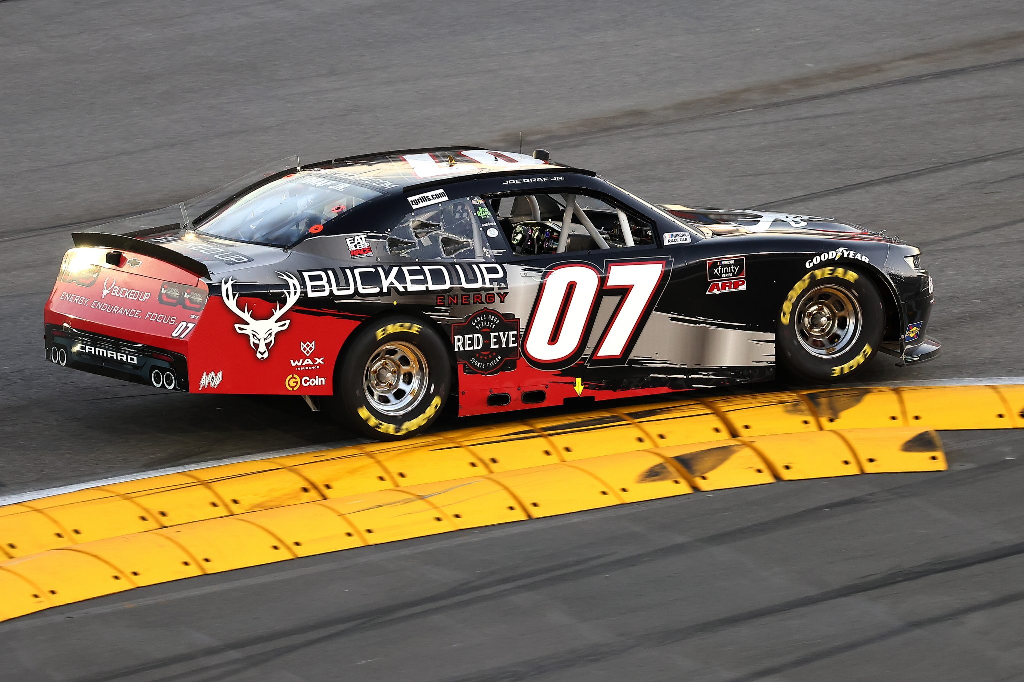 DAYTONA BEACH, FLORIDA - FEBRUARY 20: Joe Graf Jr., driver of the #07 Bucked Up Energy Chevrolet, drives during the NASCAR Xfinity Super Start Batteries 188 At Daytona Presented by O'Reilly at Daytona International Speedway on February 20, 2021 in Daytona Beach, Florida. (Photo by James Gilbert/Getty Images) | Getty Images