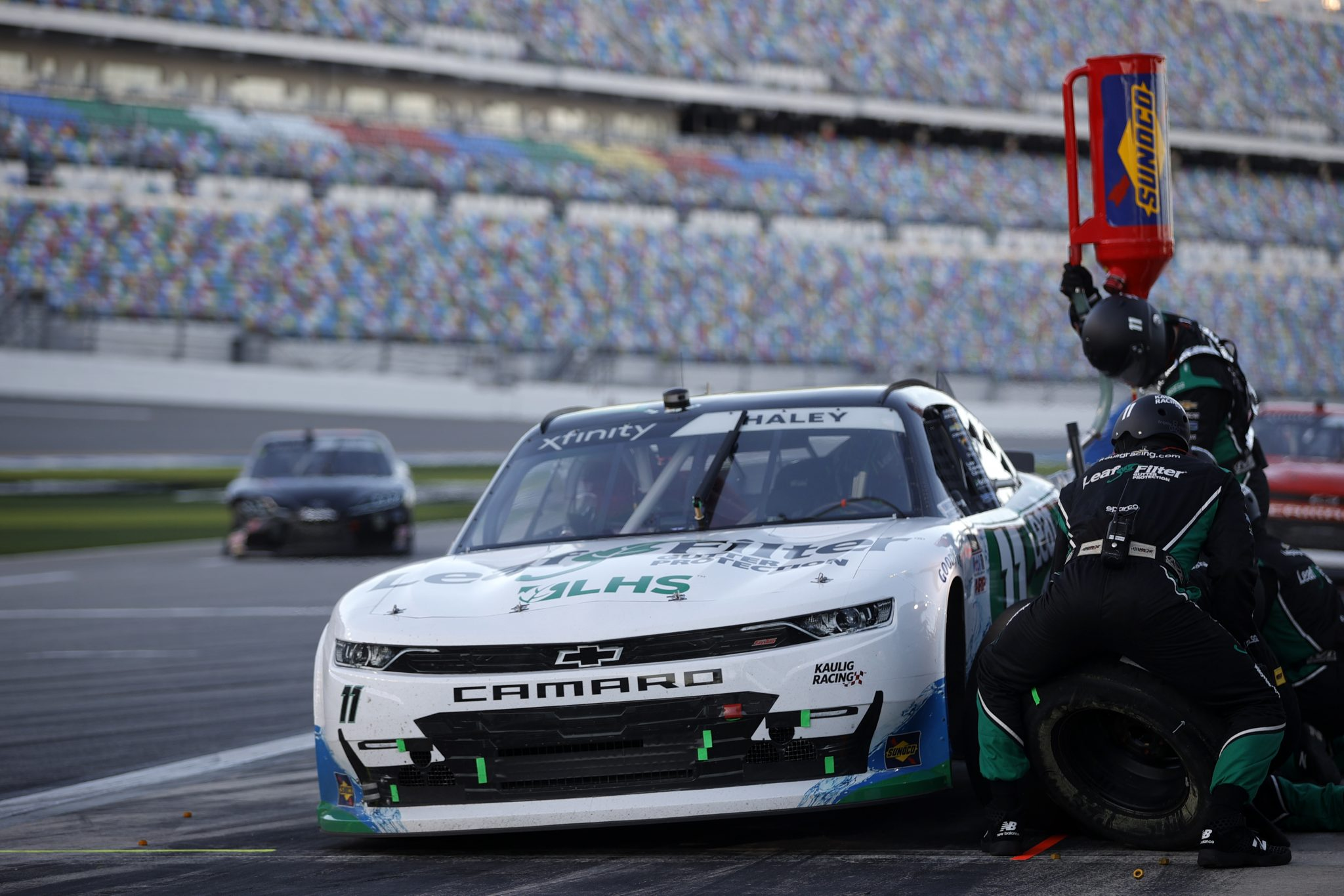 DAYTONA BEACH, FLORIDA - FEBRUARY 20: Justin Haley, driver of the #11 LeafFilter Gutter Protection Chevrolet, pits during the NASCAR Xfinity Super Start Batteries 188 At Daytona Presented by O'Reilly at Daytona International Speedway on February 20, 2021 in Daytona Beach, Florida. (Photo by Chris Graythen/Getty Images) | Getty Images