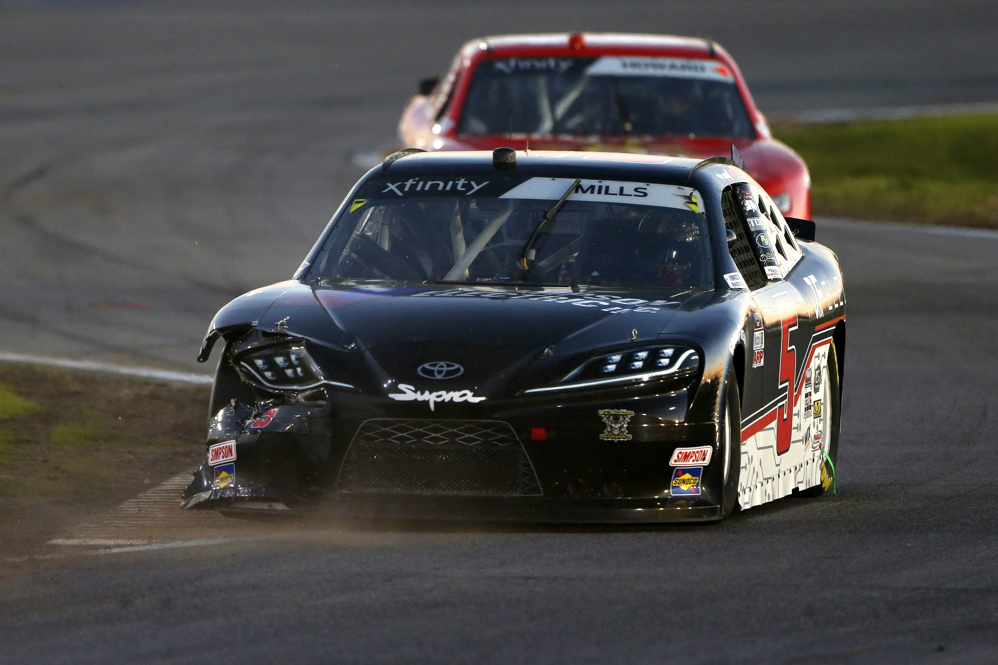DAYTONA BEACH, FLORIDA - FEBRUARY 20: Landon Cassill, driver of the #4 Chevrolet, drives a damaged car during the NASCAR Xfinity Super Start Batteries 188 At Daytona Presented by O'Reilly at Daytona International Speedway on February 20, 2021 in Daytona Beach, Florida. (Photo by Brian Lawdermilk/Getty Images) | Getty Images