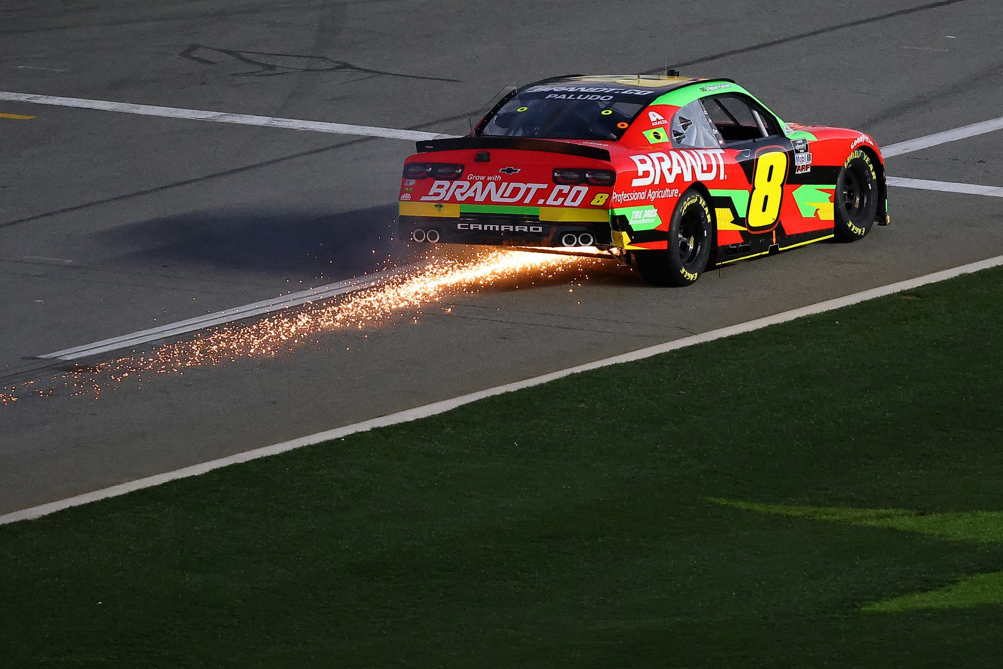 DAYTONA BEACH, FLORIDA - FEBRUARY 20: Miguel Paludo, driver of the #8 Brandt Chevrolet, drives with sparks during the NASCAR Xfinity Super Start Batteries 188 At Daytona Presented by O'Reilly at Daytona International Speedway on February 20, 2021 in Daytona Beach, Florida. (Photo by James Gilbert/Getty Images) | Getty Images