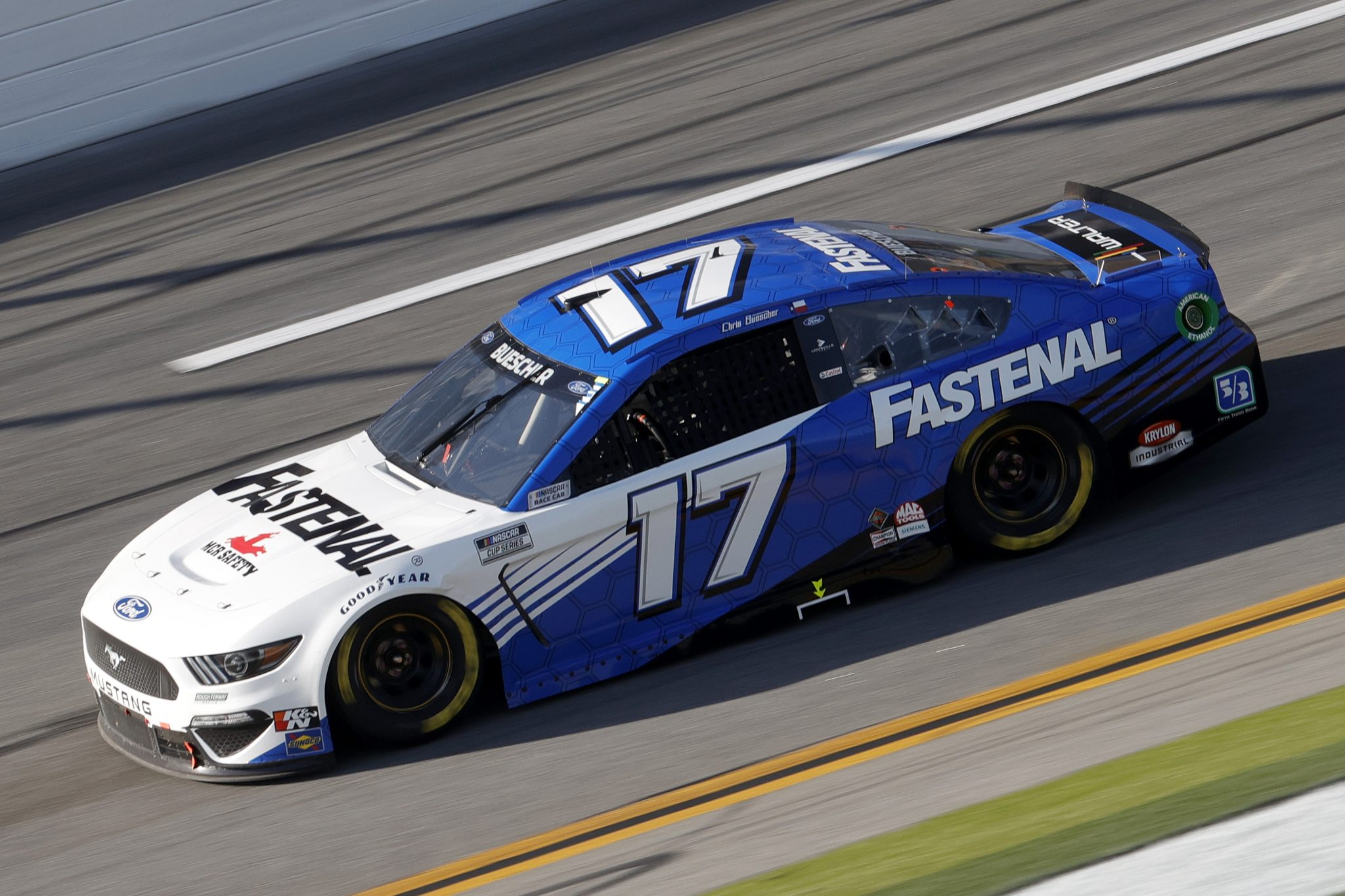 DAYTONA BEACH, FLORIDA - FEBRUARY 21: Chris Buescher, driver of the #17 Fastenal Ford, drives during the NASCAR Cup Series O'Reilly Auto Parts 253 at Daytona International Speedway on February 21, 2021 in Daytona Beach, Florida. (Photo by Chris Graythen/Getty Images) | Getty Images