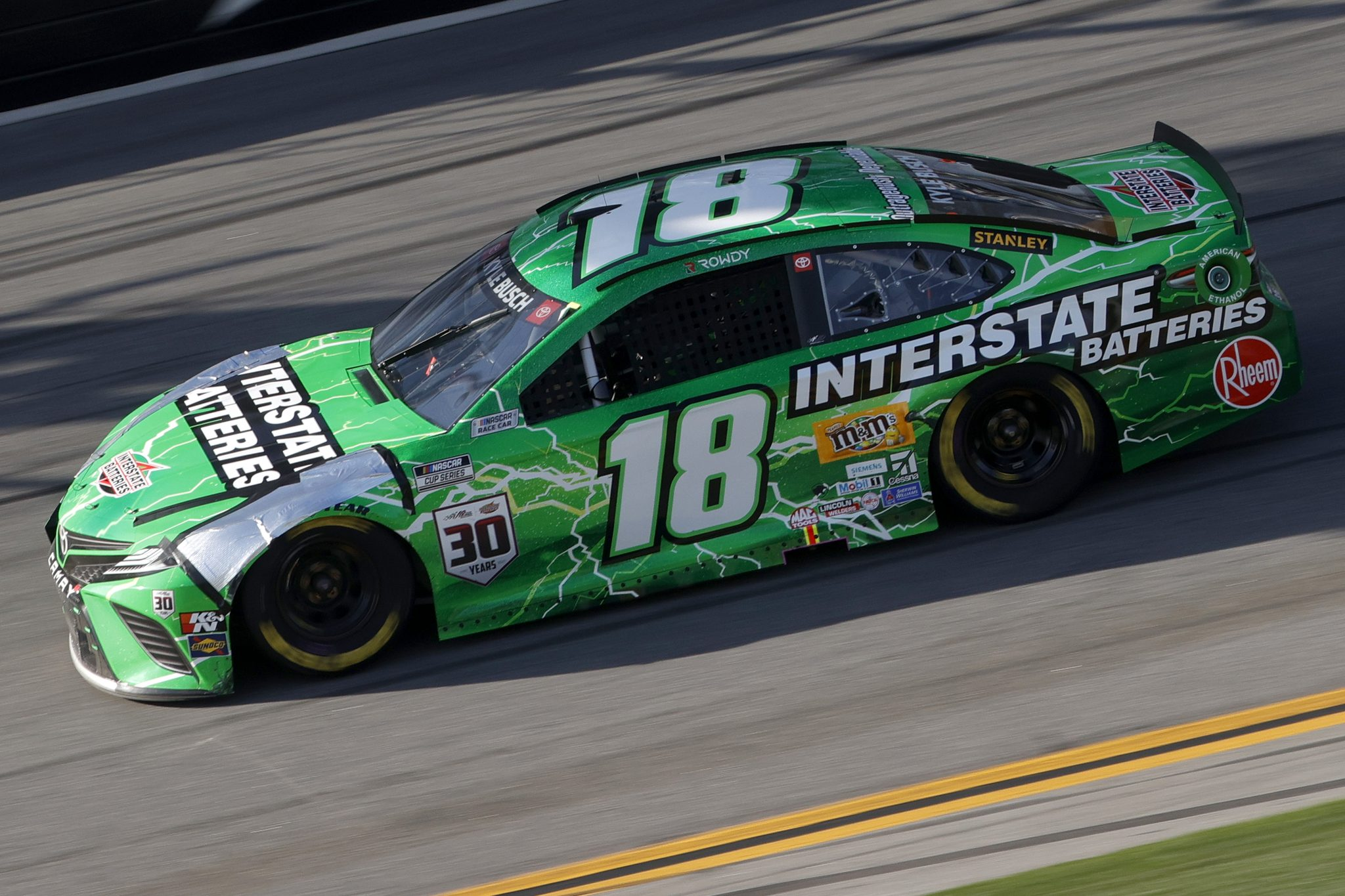 DAYTONA BEACH, FLORIDA - FEBRUARY 21: Kyle Busch, driver of the #18 Interstate Batteries Toyota, drives during the NASCAR Cup Series O'Reilly Auto Parts 253 at Daytona International Speedway on February 21, 2021 in Daytona Beach, Florida. (Photo by Chris Graythen/Getty Images) | Getty Images