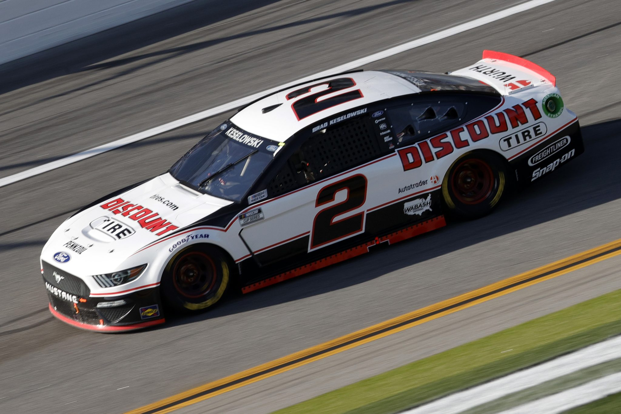 DAYTONA BEACH, FLORIDA - FEBRUARY 21: Brad Keselowski, driver of the #2 Discount Tire Ford, drives during the NASCAR Cup Series O'Reilly Auto Parts 253 at Daytona International Speedway on February 21, 2021 in Daytona Beach, Florida. (Photo by Chris Graythen/Getty Images) | Getty Images
