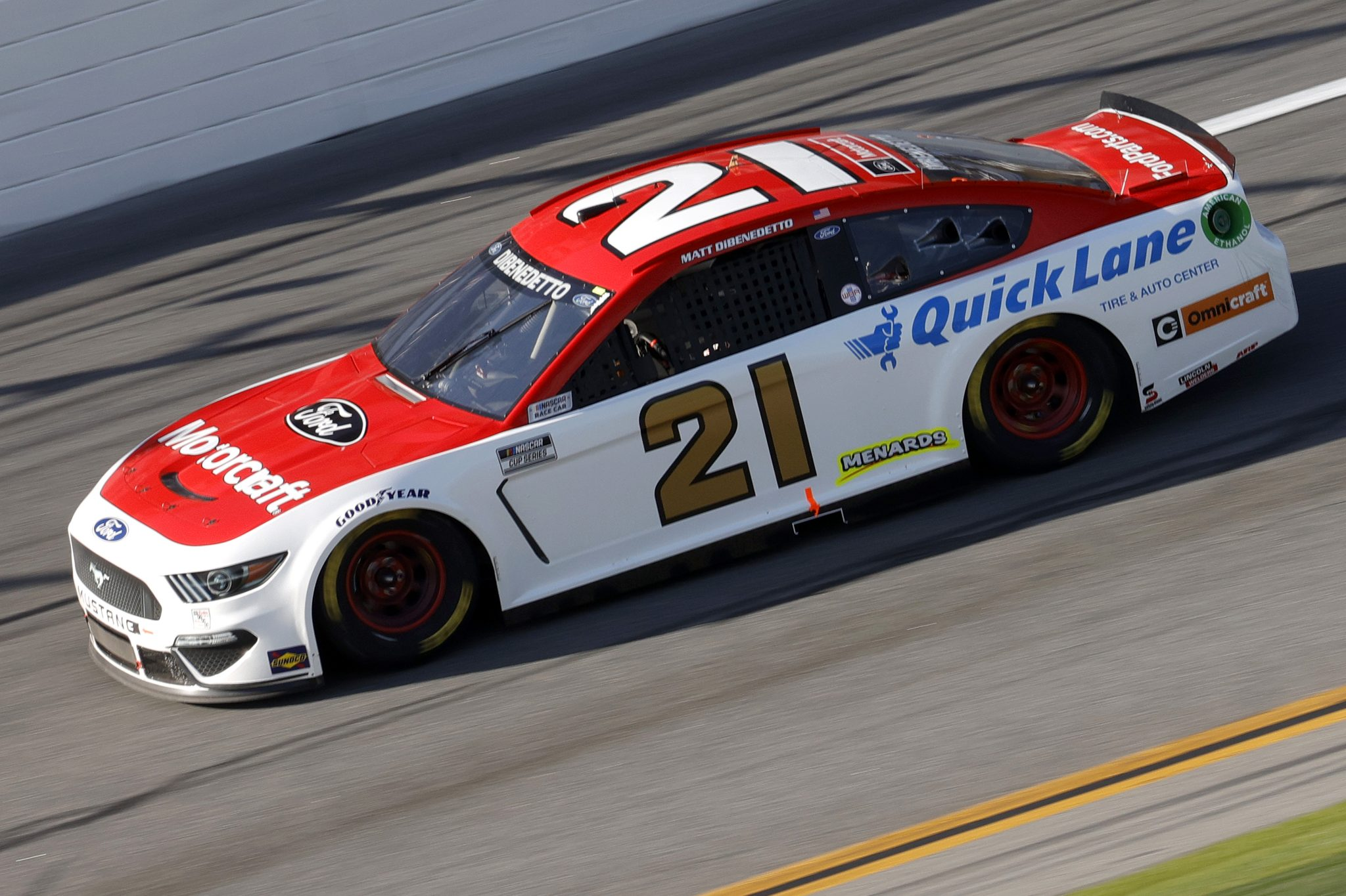 DAYTONA BEACH, FLORIDA - FEBRUARY 21: Matt DiBenedetto, driver of the #21 Motorcraft/Quick Lane Ford, drives during the NASCAR Cup Series O'Reilly Auto Parts 253 at Daytona International Speedway on February 21, 2021 in Daytona Beach, Florida. (Photo by Chris Graythen/Getty Images) | Getty Images