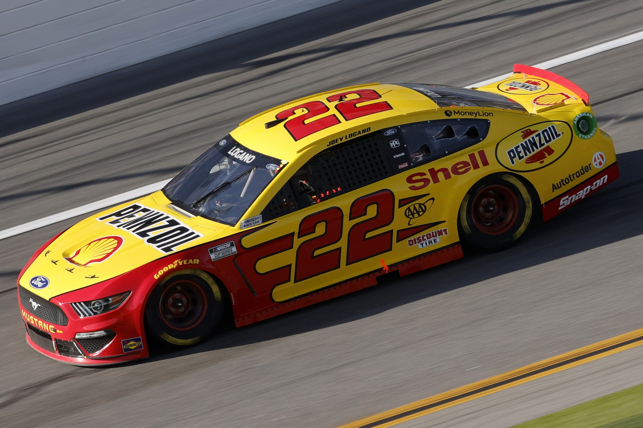 DAYTONA BEACH, FLORIDA - FEBRUARY 21: Joey Logano, driver of the #22 Shell Pennzoil Ford, drives during the NASCAR Cup Series O'Reilly Auto Parts 253 at Daytona International Speedway on February 21, 2021 in Daytona Beach, Florida. (Photo by Chris Graythen/Getty Images) | Getty Images