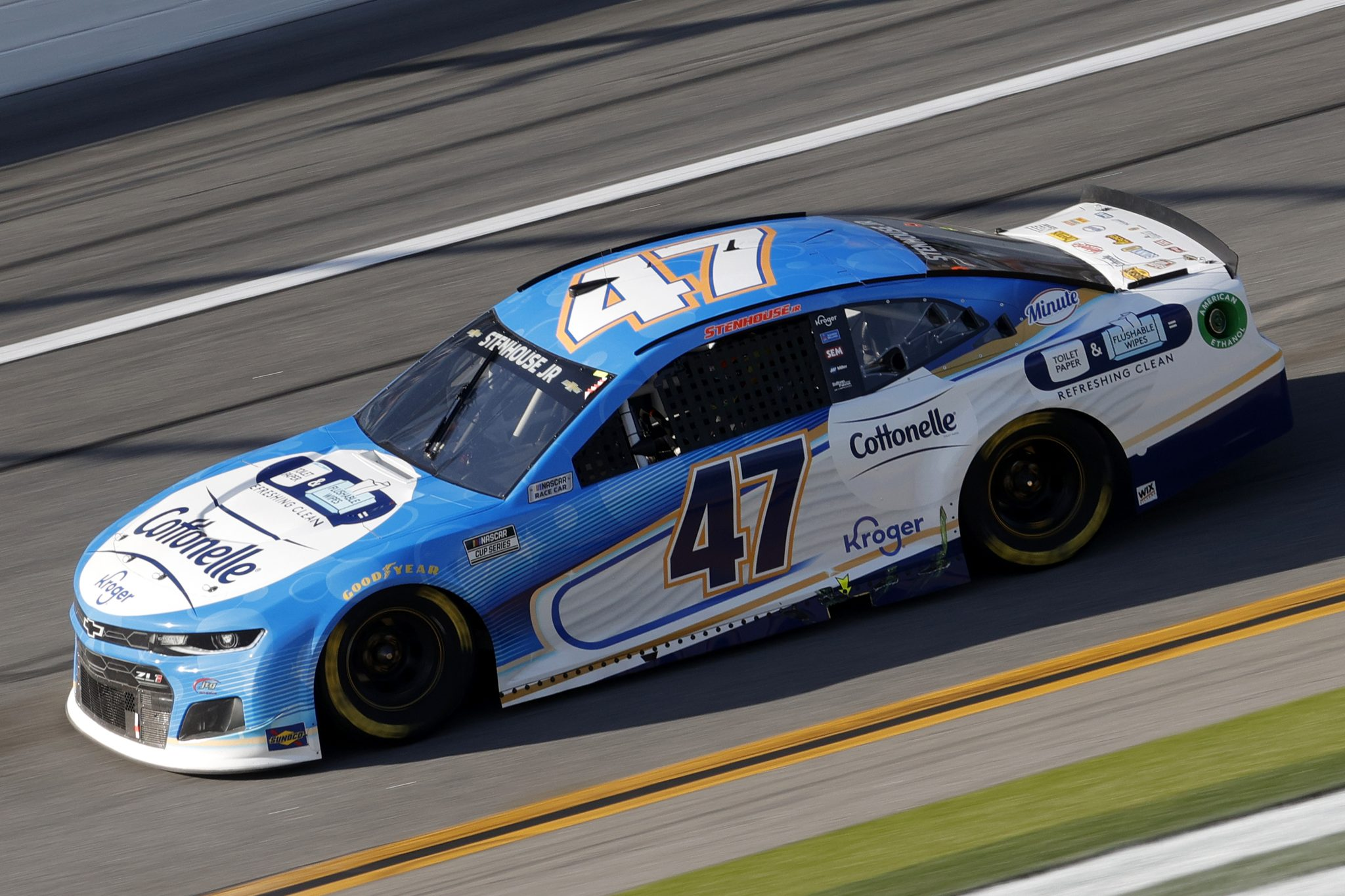 DAYTONA BEACH, FLORIDA - FEBRUARY 21: Ricky Stenhouse Jr., driver of the #47 Cottonelle Chevrolet, drives during the NASCAR Cup Series O'Reilly Auto Parts 253 at Daytona International Speedway on February 21, 2021 in Daytona Beach, Florida. (Photo by Chris Graythen/Getty Images) | Getty Images