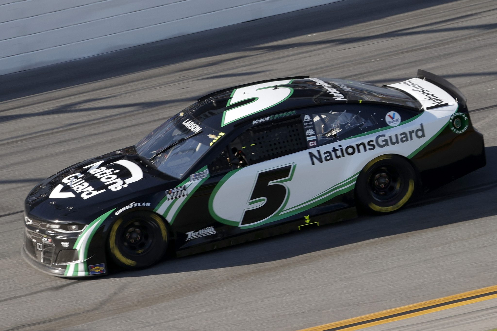 DAYTONA BEACH, FLORIDA - FEBRUARY 21: Kyle Larson, driver of the #5 Nations Guard Chevrolet, drives during the NASCAR Cup Series O'Reilly Auto Parts 253 at Daytona International Speedway on February 21, 2021 in Daytona Beach, Florida. (Photo by Chris Graythen/Getty Images) | Getty Images