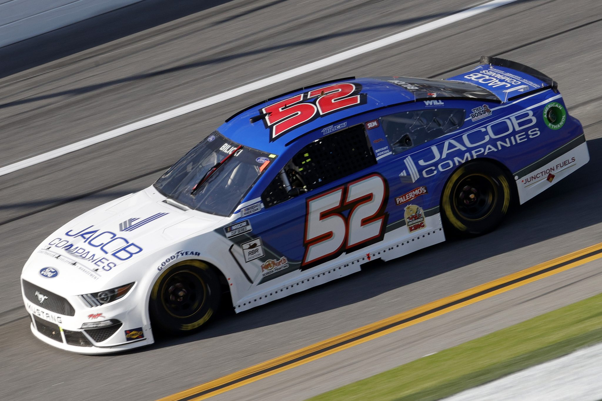 DAYTONA BEACH, FLORIDA - FEBRUARY 21: Josh Bilicki, driver of the #52 Jacob Companies Ford, drives during the NASCAR Cup Series O'Reilly Auto Parts 253 at Daytona International Speedway on February 21, 2021 in Daytona Beach, Florida. (Photo by Chris Graythen/Getty Images) | Getty Images