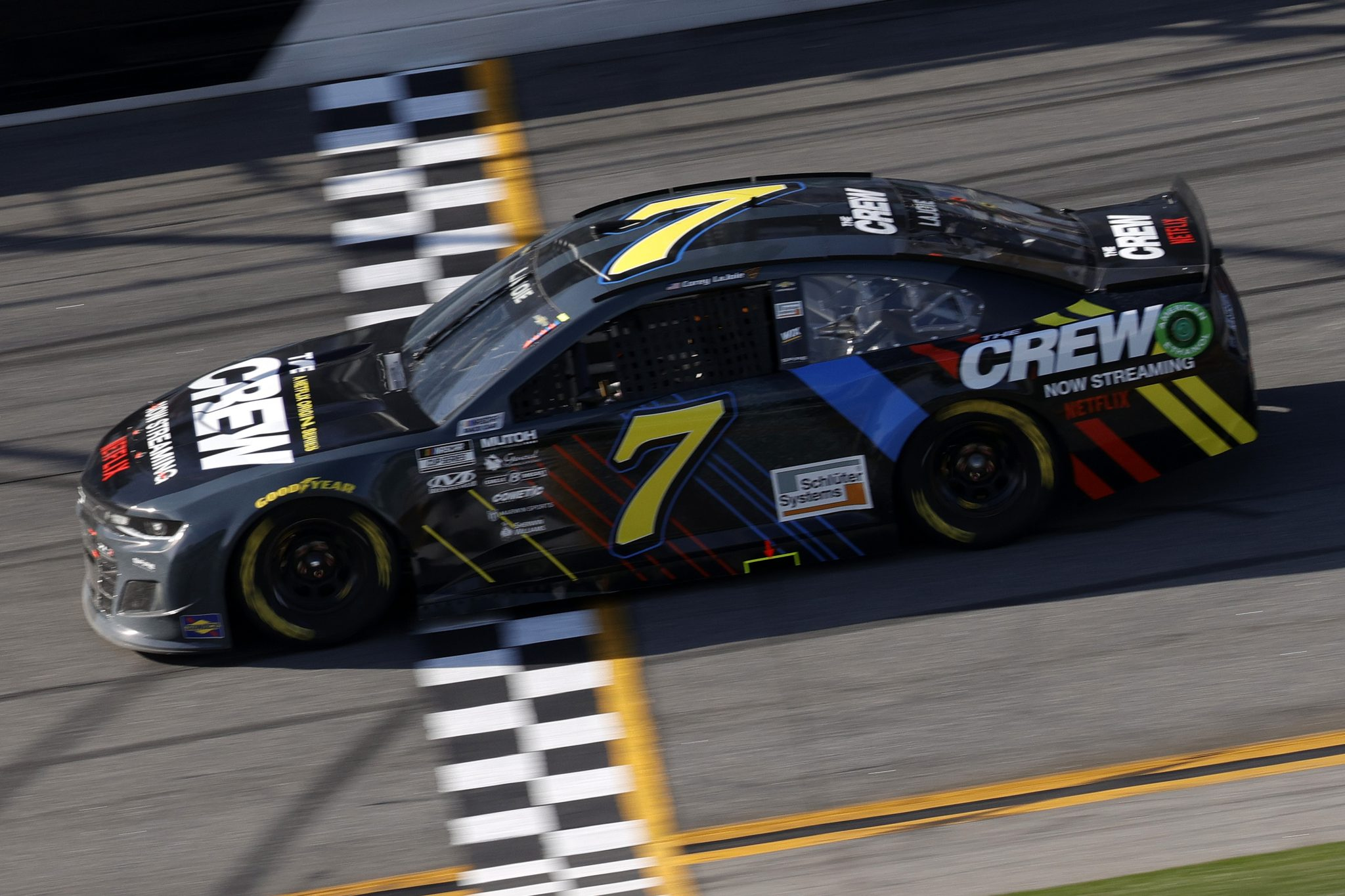 DAYTONA BEACH, FLORIDA - FEBRUARY 21: Corey LaJoie, driver of the #7 Netflix Chevrolet, drives during the NASCAR Cup Series O'Reilly Auto Parts 253 at Daytona International Speedway on February 21, 2021 in Daytona Beach, Florida. (Photo by Chris Graythen/Getty Images)   Getty Images