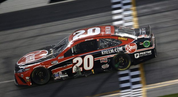 DAYTONA BEACH, FLORIDA - FEBRUARY 21: Christopher Bell, driver of the #20 Rheem Toyota, crosses the finish line to win the NASCAR Cup Series O'Reilly Auto Parts 253 at Daytona International Speedway on February 21, 2021 in Daytona Beach, Florida. (Photo by Chris Graythen/Getty Images) | Getty Images