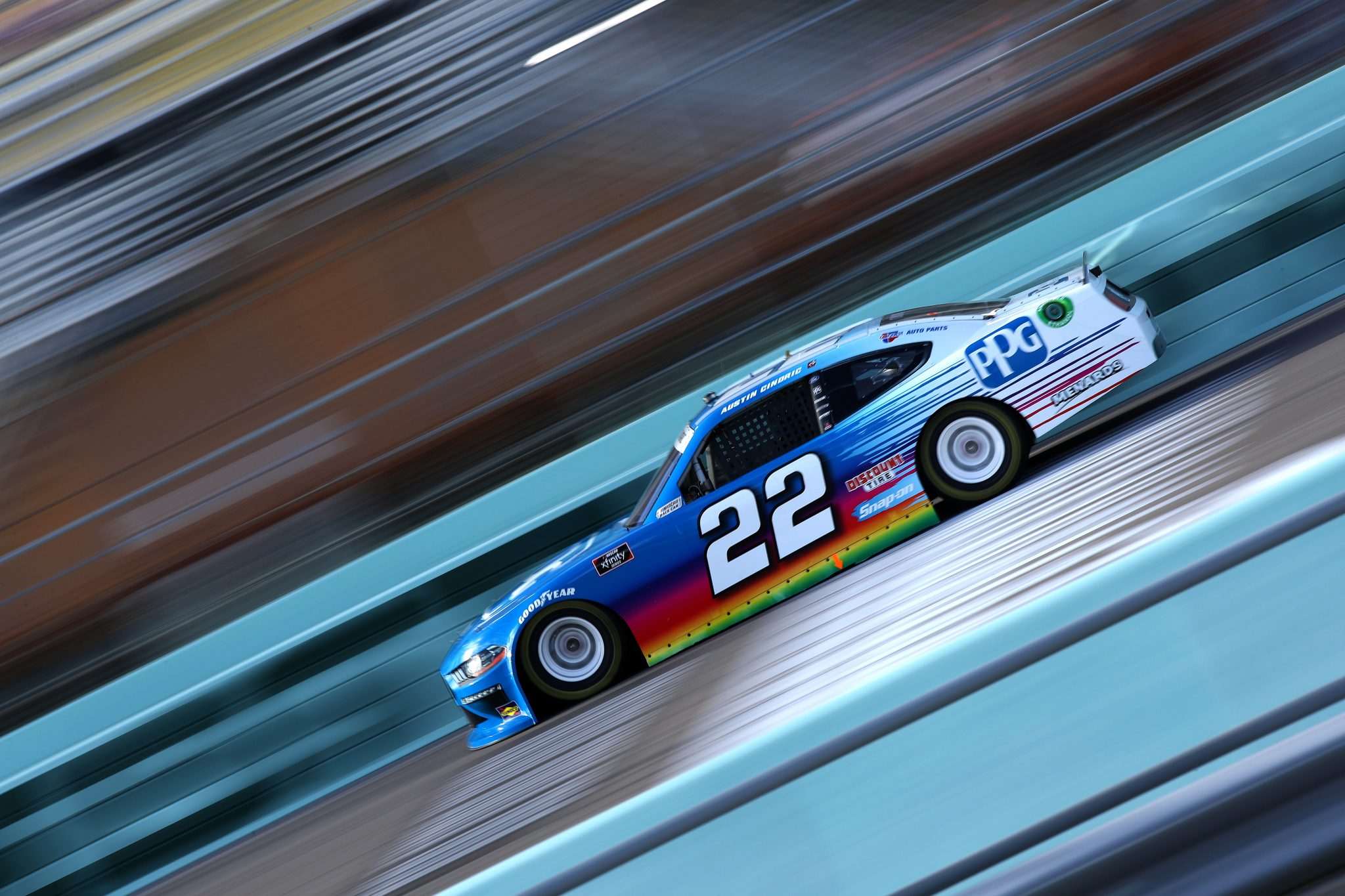 HOMESTEAD, FLORIDA - FEBRUARY 27: Austin Cindric, driver of the #22 PPG Ford, drives during the NASCAR Xfinity Series Contender Boats 250 at Homestead-Miami Speedway on February 27, 2021 in Homestead, Florida. (Photo by Sean Gardner/Getty Images) | Getty Images