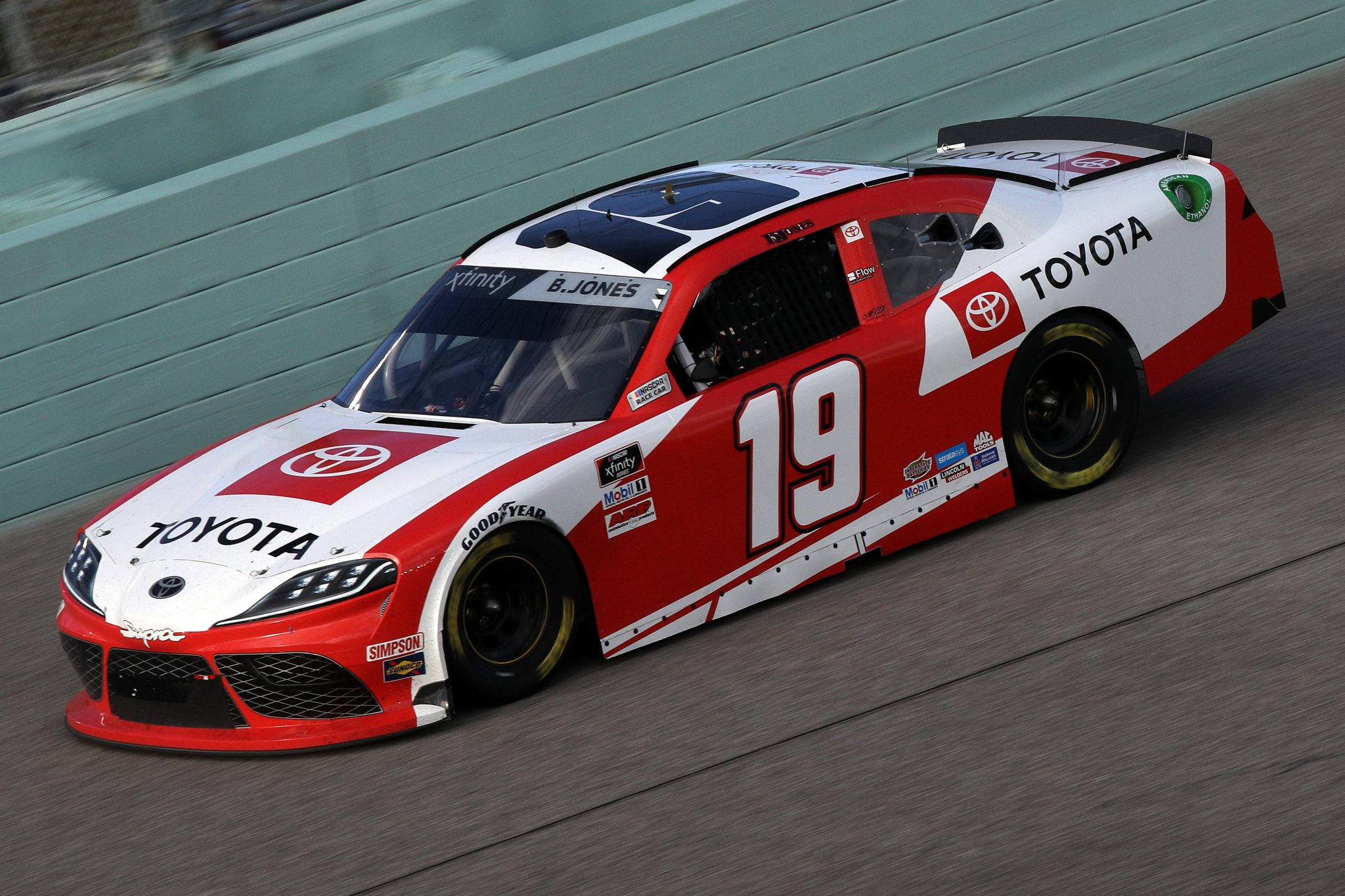 HOMESTEAD, FLORIDA - FEBRUARY 27: Brandon Jones, driver of the #19 Toyota Supra Toyota, drives during the NASCAR Xfinity Series Contender Boats 250 at Homestead-Miami Speedway on February 27, 2021 in Homestead, Florida. (Photo by Sean Gardner/Getty Images) | Getty Images