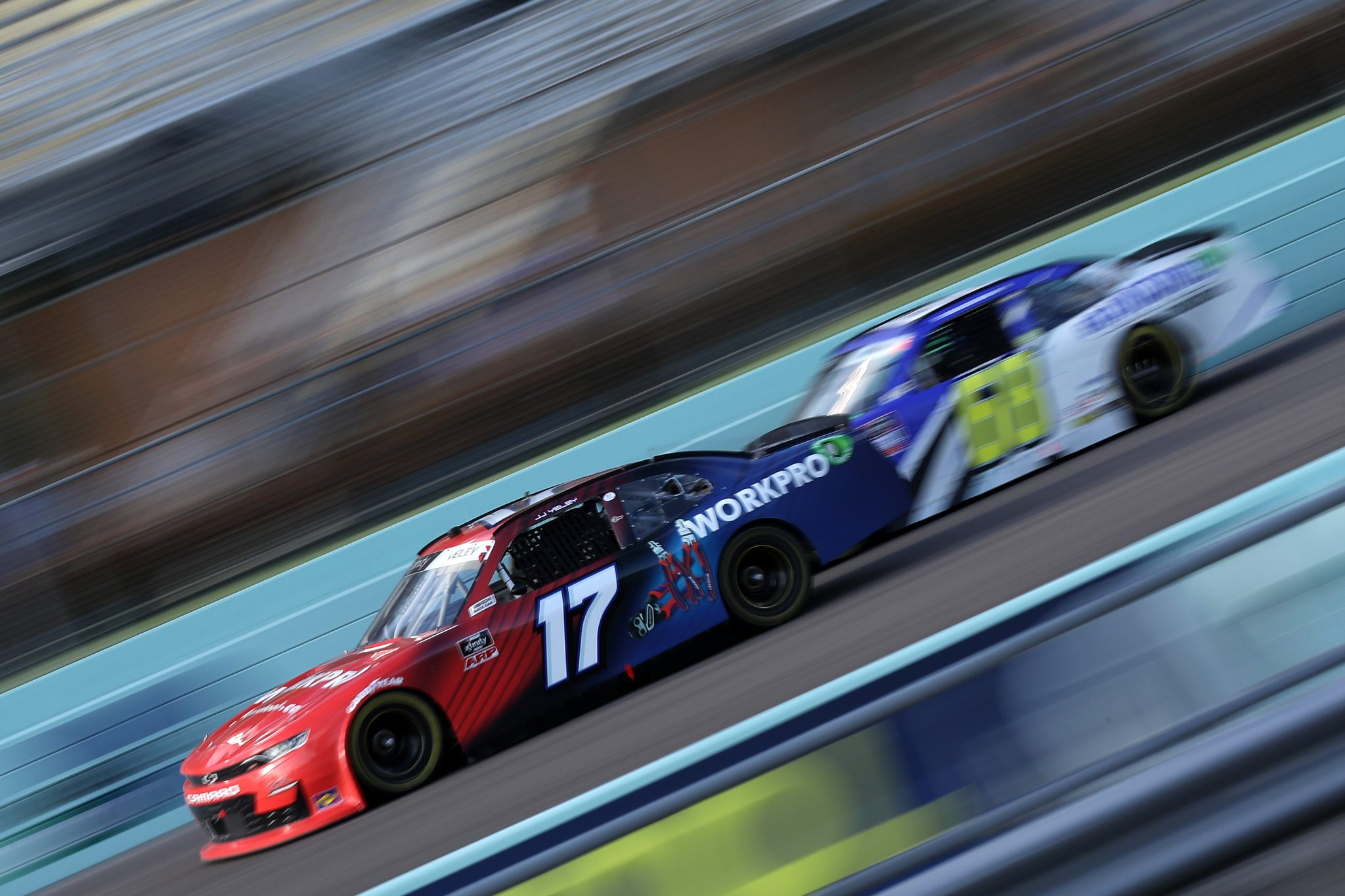HOMESTEAD, FLORIDA - FEBRUARY 27: JJ Yeley, driver of the #17 Work Pro Chevrolet, drives during the NASCAR Xfinity Series Contender Boats 250 at Homestead-Miami Speedway on February 27, 2021 in Homestead, Florida. (Photo by Sean Gardner/Getty Images) | Getty Images