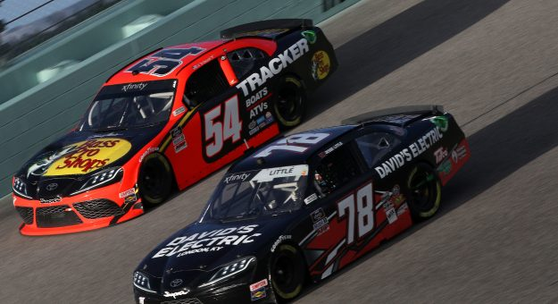 HOMESTEAD, FLORIDA - FEBRUARY 27: Ty Dillon, driver of the #54 Bass Pro Shops Toyota, and Jesse Little, driver of the #78 Chevrolet, race during the NASCAR Xfinity Series Contender Boats 250 at Homestead-Miami Speedway on February 27, 2021 in Homestead, Florida. (Photo by Sean Gardner/Getty Images)   Getty Images