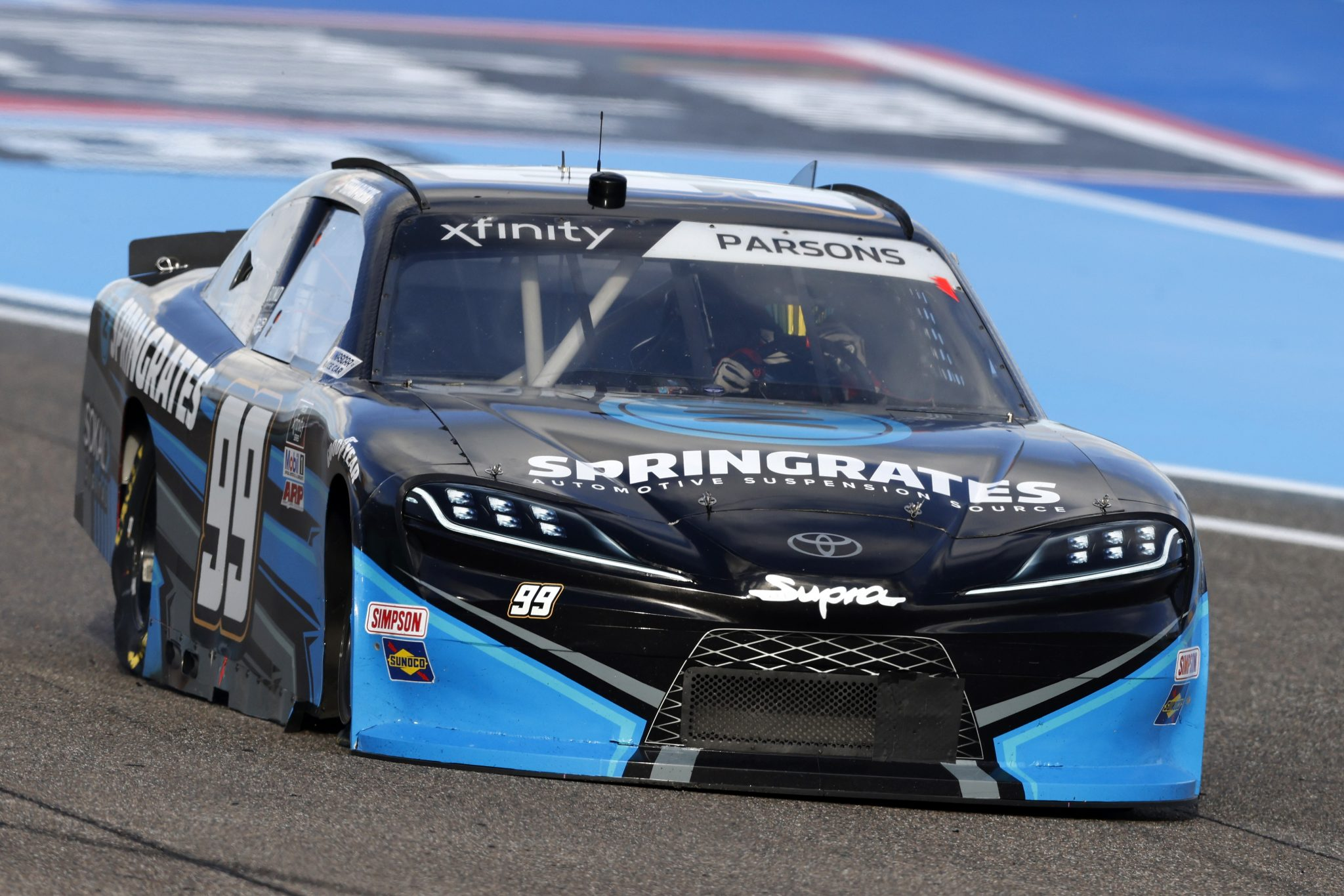 HOMESTEAD, FLORIDA - FEBRUARY 27: Stefan Parsons, driver of the #99 Springrates Chevrolet, drives during the NASCAR Xfinity Series Contender Boats 250 at Homestead-Miami Speedway on February 27, 2021 in Homestead, Florida. (Photo by Michael Reaves/Getty Images) | Getty Images
