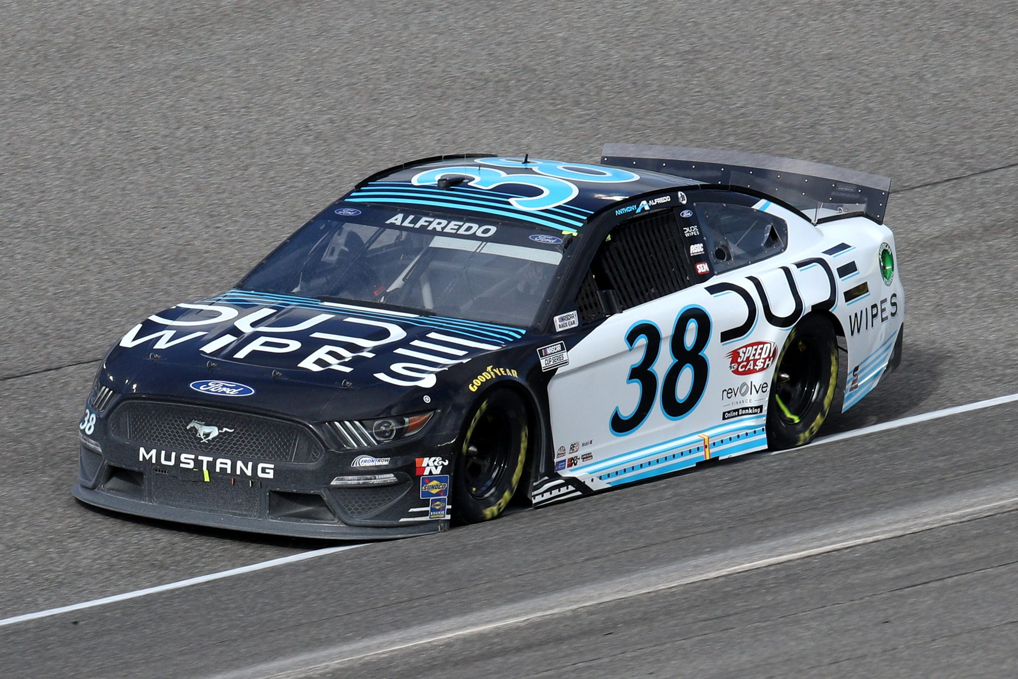 HOMESTEAD, FLORIDA - FEBRUARY 28: Anthony Alfredo, driver of the #38 Dude Wipes Ford, drives during the NASCAR Cup Series Dixie Vodka 400 at Homestead-Miami Speedway on February 28, 2021 in Homestead, Florida. (Photo by Sean Gardner/Getty Images) | Getty Images