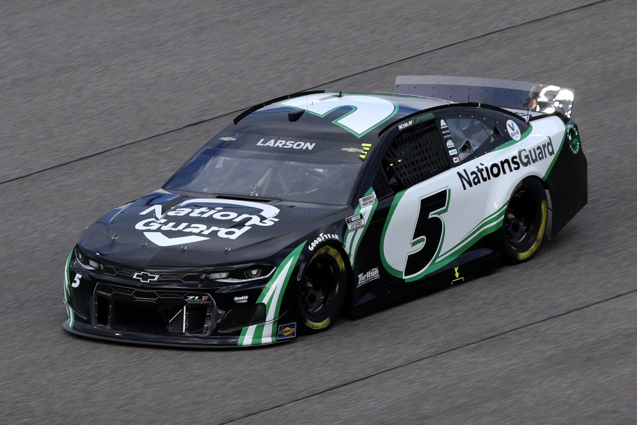 HOMESTEAD, FLORIDA - FEBRUARY 28: Kyle Larson, driver of the #5 NationsGuard Chevrolet, drives during the NASCAR Cup Series Dixie Vodka 400 at Homestead-Miami Speedway on February 28, 2021 in Homestead, Florida. (Photo by Sean Gardner/Getty Images) | Getty Images