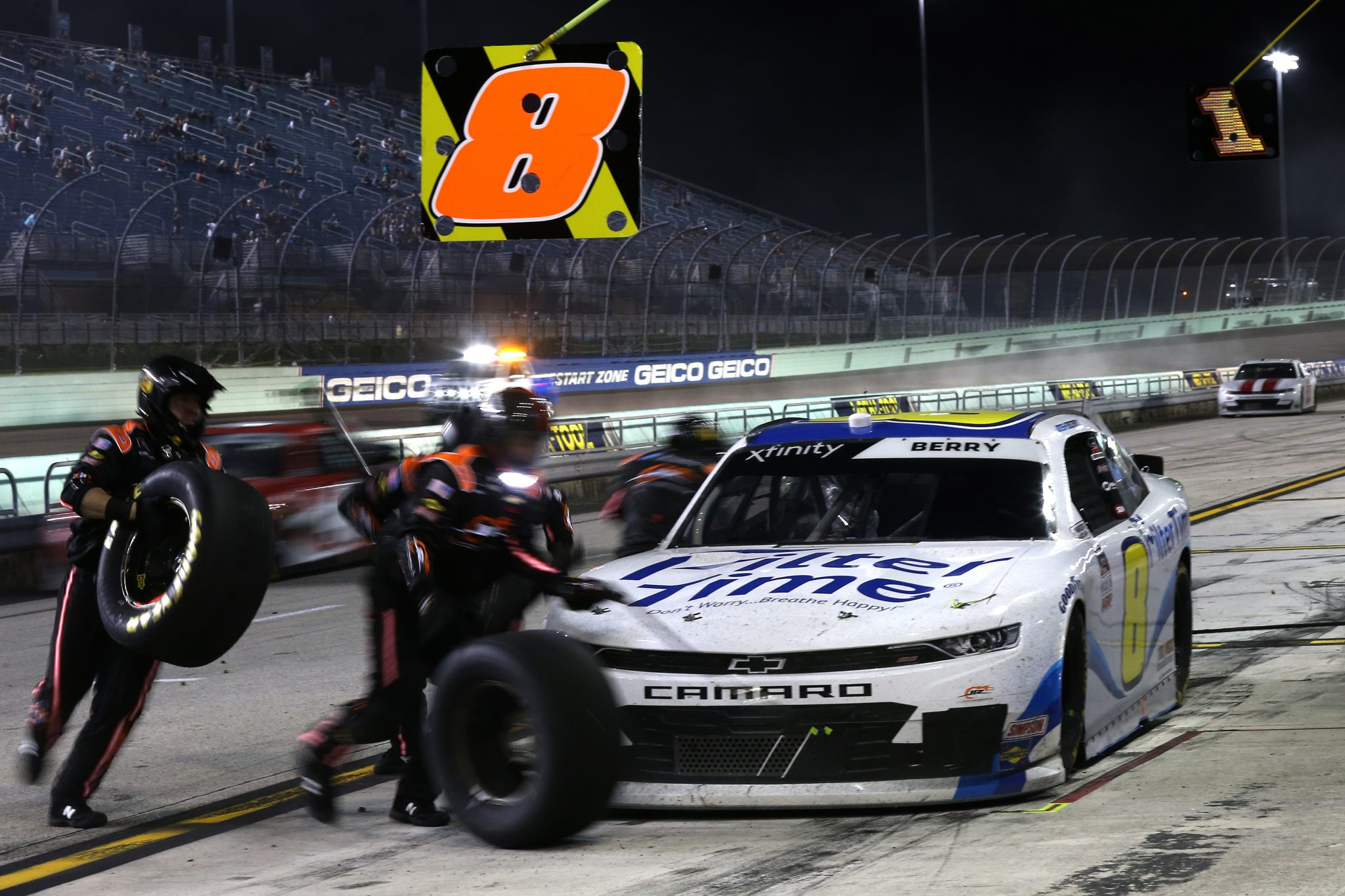 HOMESTEAD, FLORIDA - FEBRUARY 27: Josh Berry, driver of the #8 FilterTime Chevrolet, pits during the NASCAR Xfinity Series Contender Boats 250 at Homestead-Miami Speedway on February 27, 2021 in Homestead, Florida. (Photo by Sean Gardner/Getty Images) | Getty Images