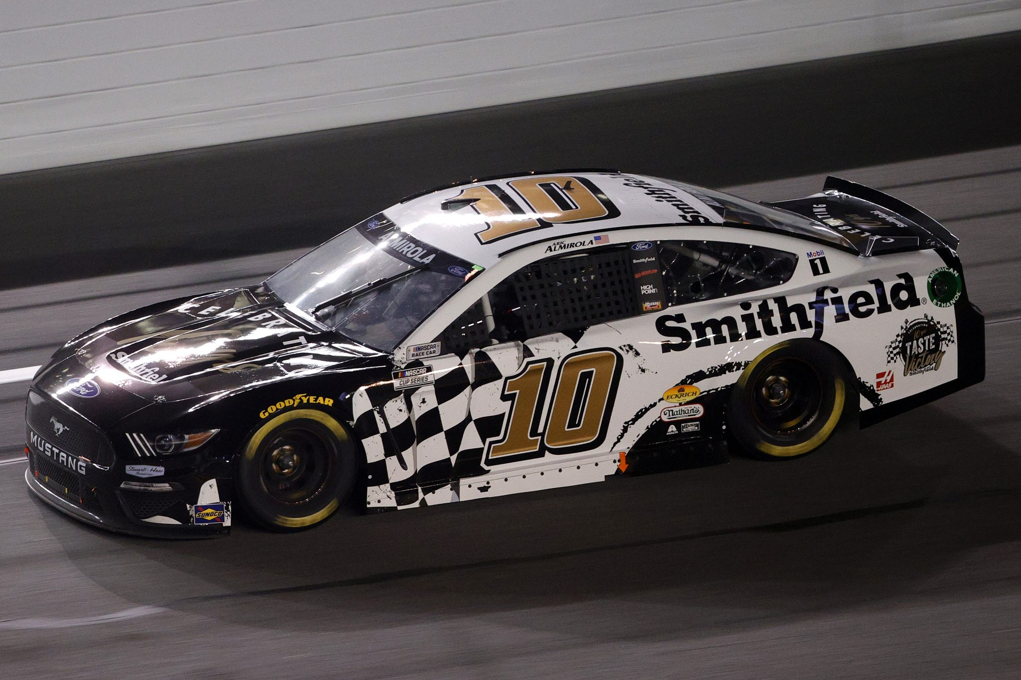 DAYTONA BEACH, FLORIDA - FEBRUARY 09: Aric Almirola, driver of the #10 Smithfield Ford, drives during the NASCAR Cup Series Busch Clash at Daytona at Daytona International Speedway on February 09, 2021 in Daytona Beach, Florida. (Photo by Chris Graythen/Getty Images) | Getty Images