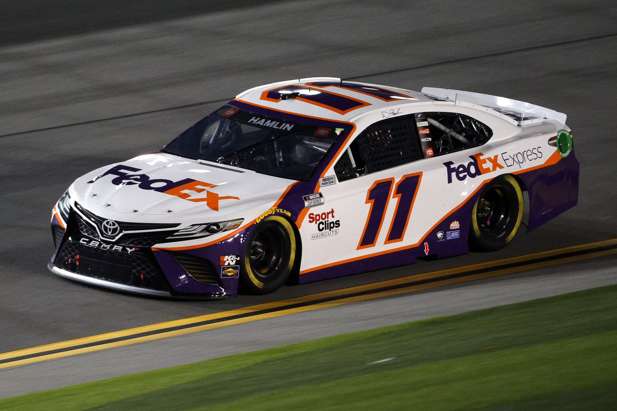 DAYTONA BEACH, FLORIDA - FEBRUARY 09: Denny Hamlin, driver of the #11 FedEx Express Toyota, drives during the NASCAR Cup Series Busch Clash at Daytona at Daytona International Speedway on February 09, 2021 in Daytona Beach, Florida. (Photo by Chris Graythen/Getty Images) | Getty Images