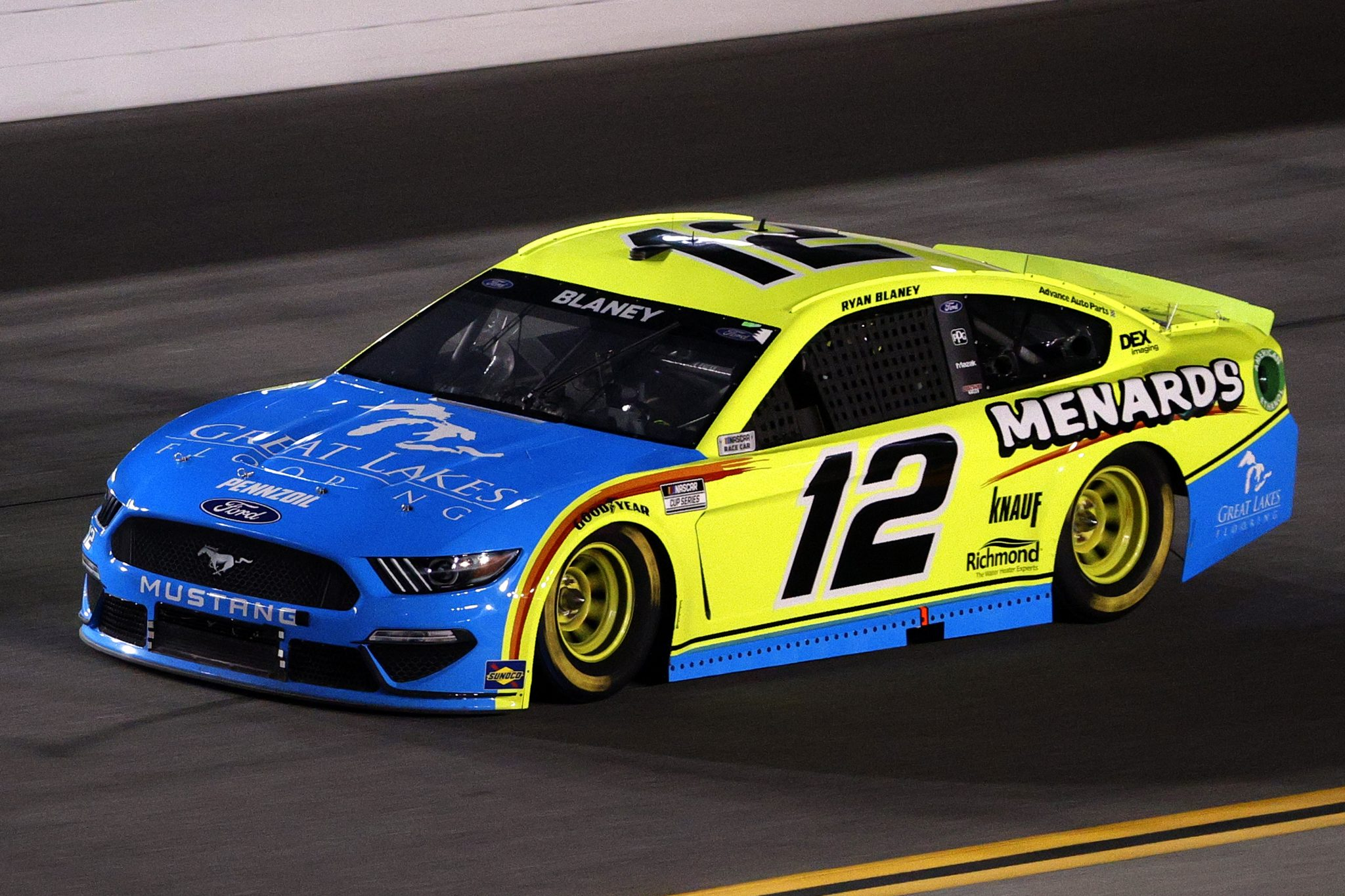DAYTONA BEACH, FLORIDA - FEBRUARY 09: Ryan Blaney, driver of the #12 Menards/Great Lakes Flooring Ford, drives during the NASCAR Cup Series Busch Clash at Daytona at Daytona International Speedway on February 09, 2021 in Daytona Beach, Florida. (Photo by Chris Graythen/Getty Images) | Getty Images