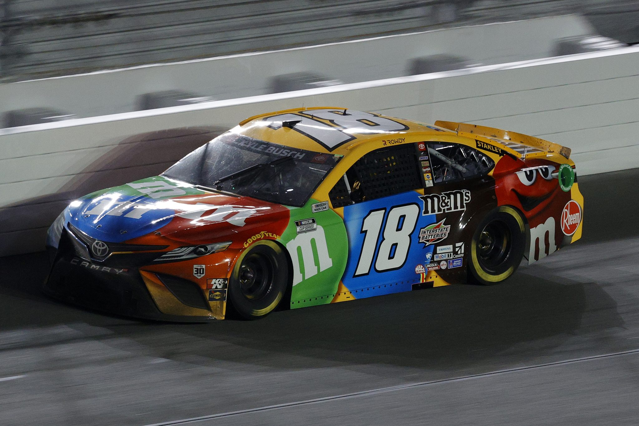 DAYTONA BEACH, FLORIDA - FEBRUARY 09: Kyle Busch, driver of the #18 M&M's Toyota, drives during the NASCAR Cup Series Busch Clash at Daytona at Daytona International Speedway on February 09, 2021 in Daytona Beach, Florida. (Photo by Chris Graythen/Getty Images) | Getty Images