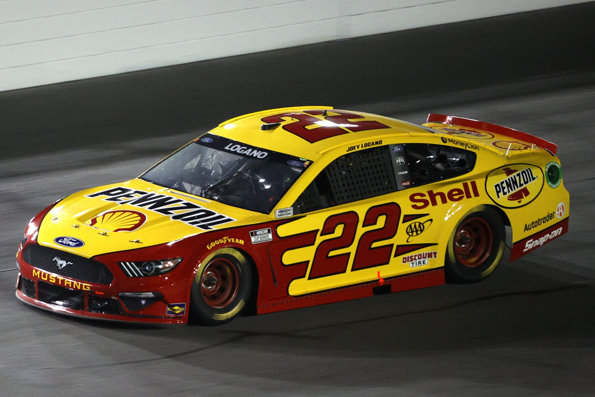 DAYTONA BEACH, FLORIDA - FEBRUARY 09: Joey Logano, driver of the #22 Shell Pennzoil Ford, drives during the NASCAR Cup Series Busch Clash at Daytona at Daytona International Speedway on February 09, 2021 in Daytona Beach, Florida. (Photo by Chris Graythen/Getty Images) | Getty Images