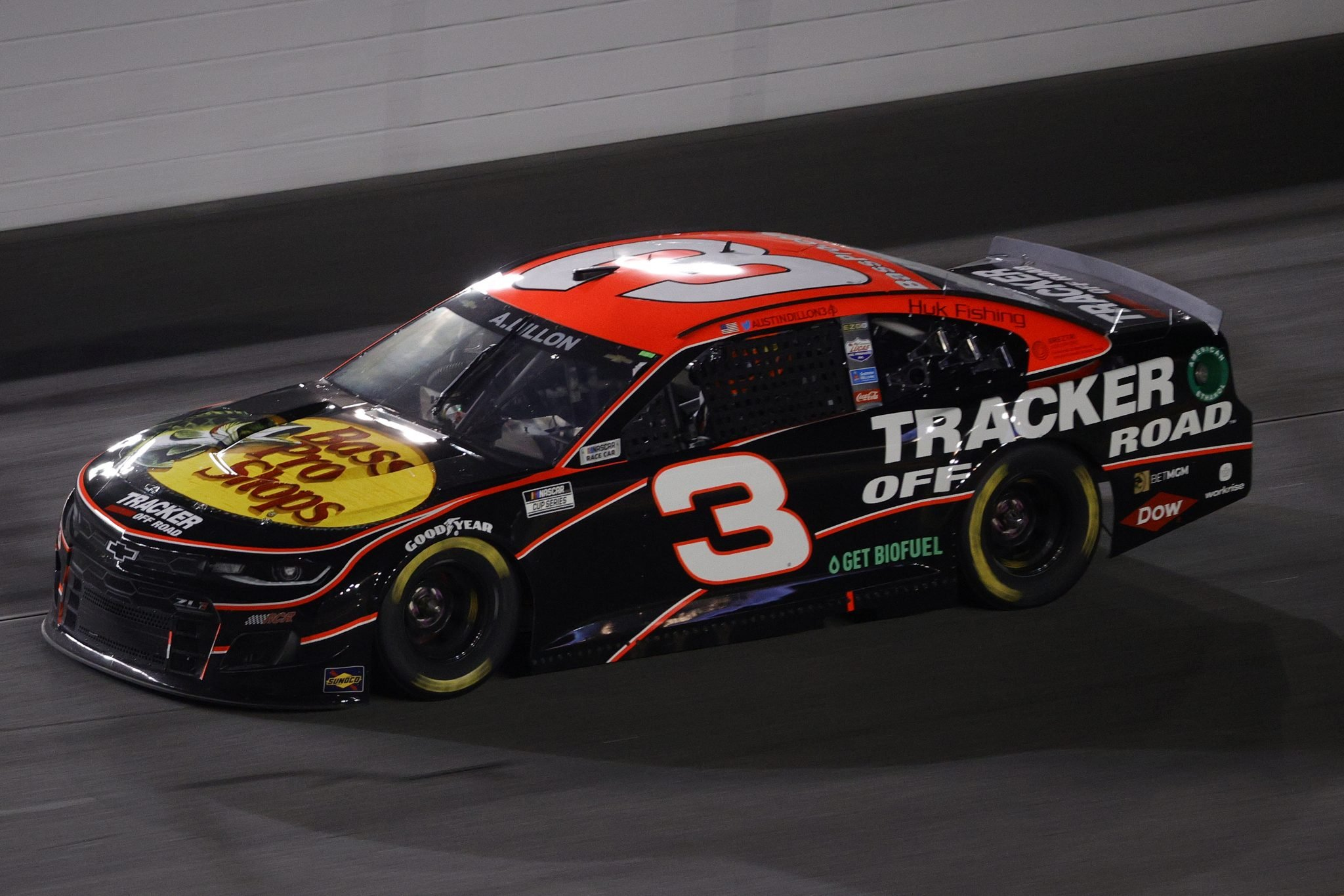 DAYTONA BEACH, FLORIDA - FEBRUARY 09: Austin Dillon, driver of the #3 Bass Pro Shops/Tracker Off Road Chevrolet, drives during the NASCAR Cup Series Busch Clash at Daytona at Daytona International Speedway on February 09, 2021 in Daytona Beach, Florida. (Photo by Chris Graythen/Getty Images) | Getty Images