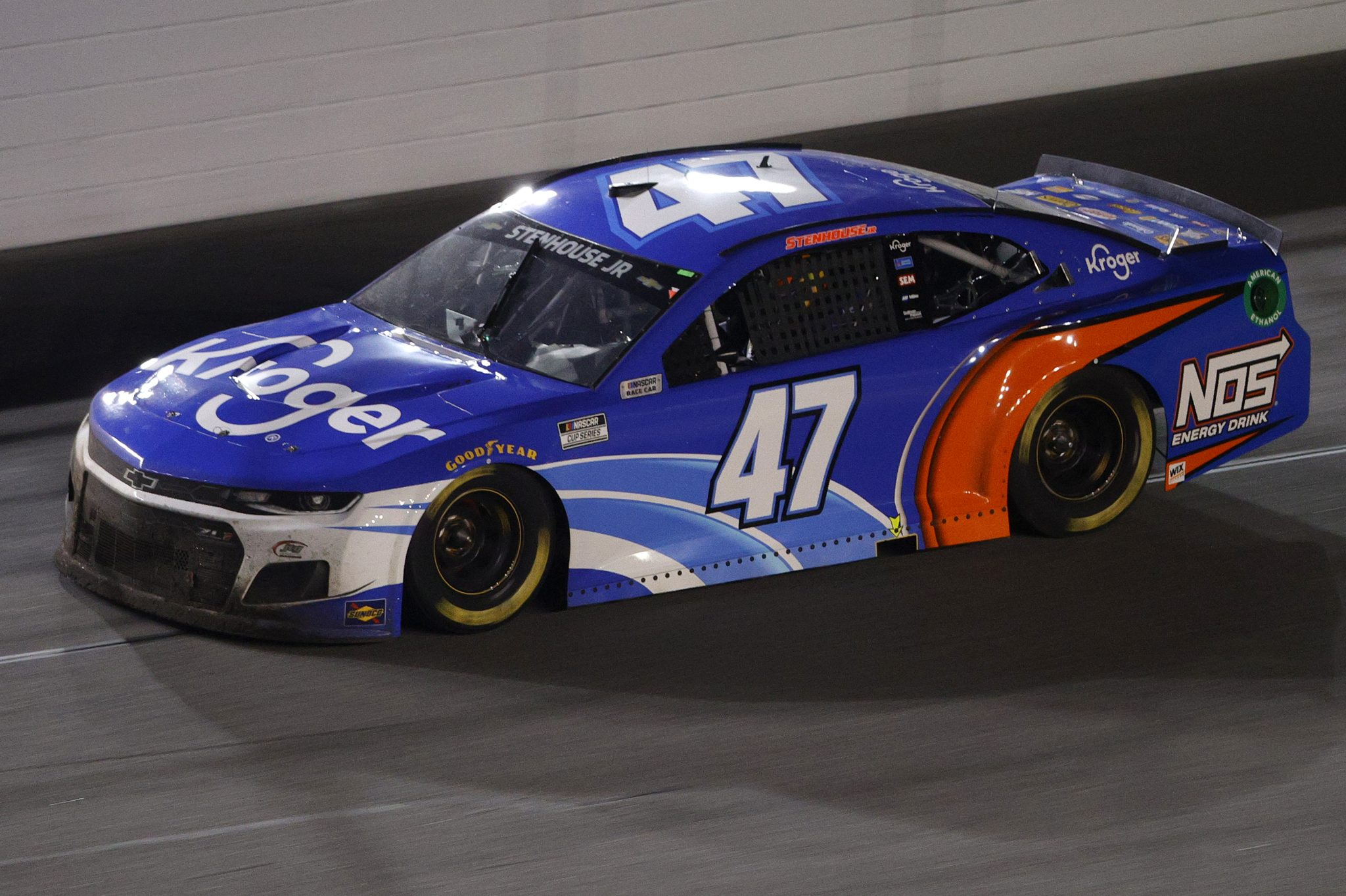 DAYTONA BEACH, FLORIDA - FEBRUARY 09: Ricky Stenhouse Jr., driver of the #47 Kroger/NOS Energy Drink Chevrolet, drives during the NASCAR Cup Series Busch Clash at Daytona at Daytona International Speedway on February 09, 2021 in Daytona Beach, Florida. (Photo by Chris Graythen/Getty Images) | Getty Images