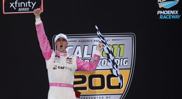 AVONDALE, ARIZONA - MARCH 13: Austin Cindric, driver of the #22 Car Shop Ford, celebrates in victory lane after winning the NASCAR Xfinity Series Call 811 Before You Dig 200 presented by Arizona 811 at Phoenix Raceway on March 13, 2021 in Avondale, Arizona. (Photo by Sean Gardner/Getty Images)   Getty Images