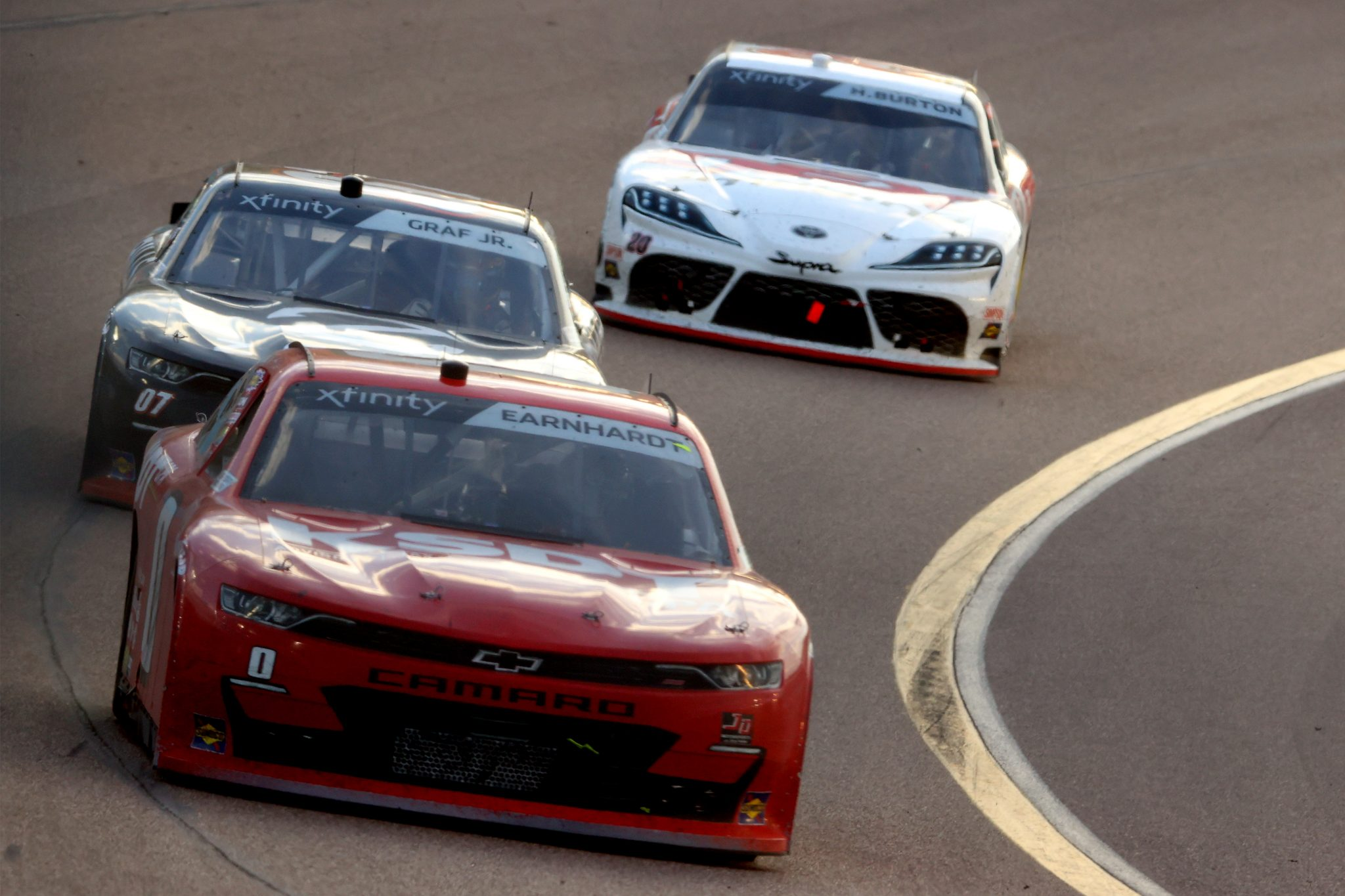 AVONDALE, ARIZONA - MARCH 13: Jeffrey Earnhardt, driver of the #0 KSDT Chevrolet, leads the field during the NASCAR Xfinity Series Call 811 Before You Dig 200 presented by Arizona 811 at Phoenix Raceway on March 13, 2021 in Avondale, Arizona. (Photo by Abbie Parr/Getty Images) | Getty Images
