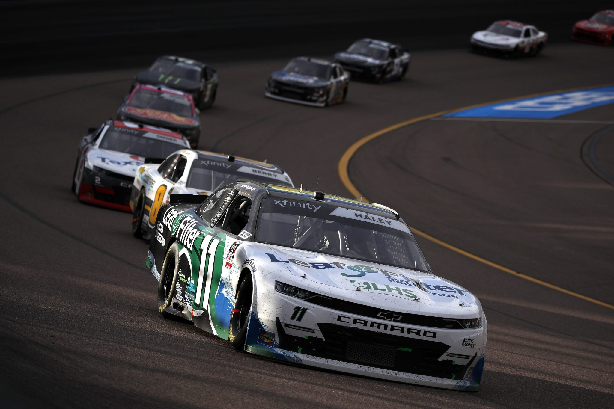 AVONDALE, ARIZONA - MARCH 13: Justin Haley, driver of the #11 LeafFilter Gutter Protection Chevrolet, leads the field during the NASCAR Xfinity Series Call 811 Before You Dig 200 presented by Arizona 811 at Phoenix Raceway on March 13, 2021 in Avondale, Arizona. (Photo by Christian Petersen/Getty Images) | Getty Images