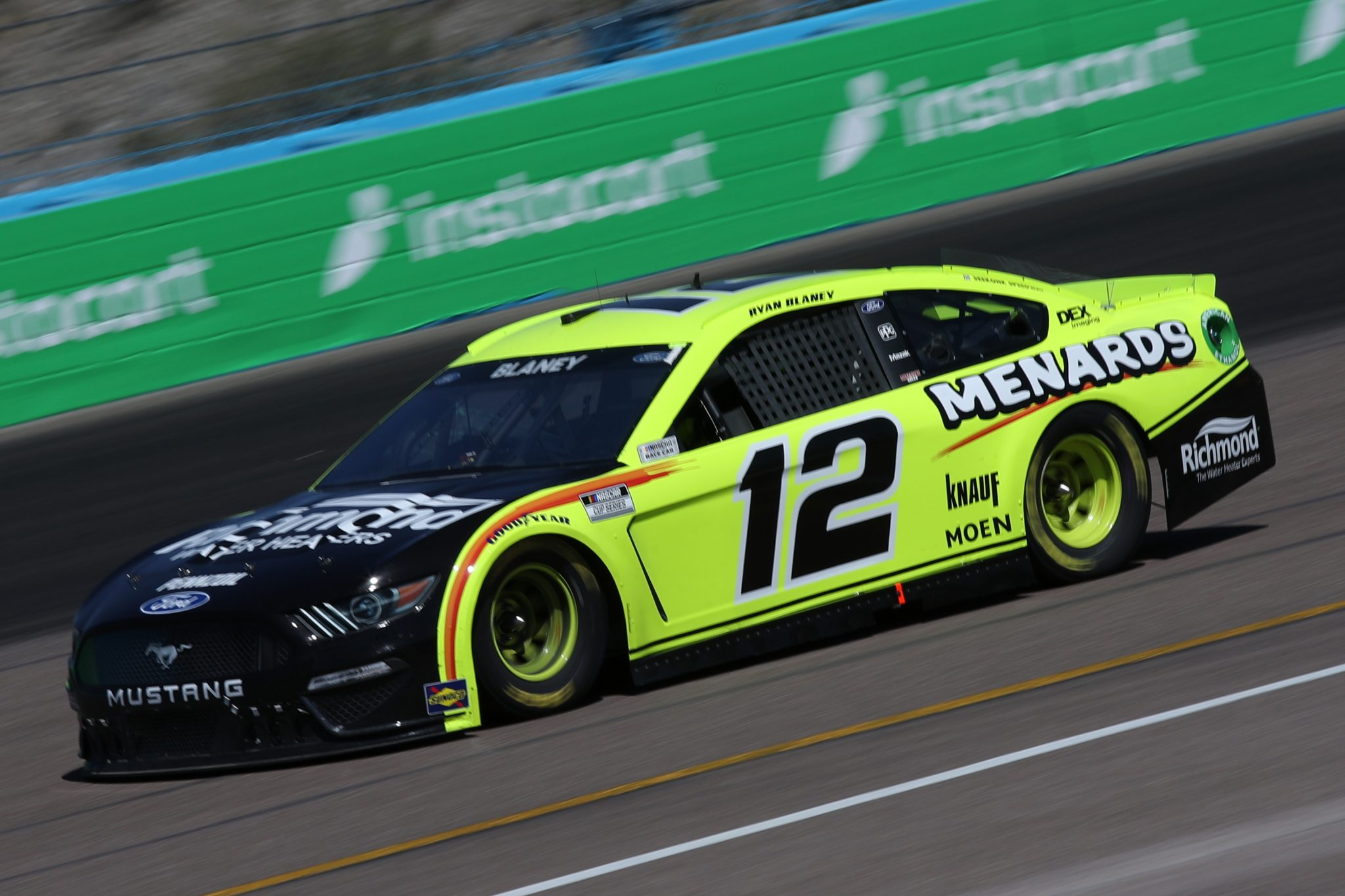 AVONDALE, ARIZONA - MARCH 14: Ryan Blaney, driver of the #12 Menards/Richmond Water Heaters Ford, drives during the NASCAR Cup Series Instacart 500 at Phoenix Raceway on March 14, 2021 in Avondale, Arizona. (Photo by Sean Gardner/Getty Images) | Getty Images