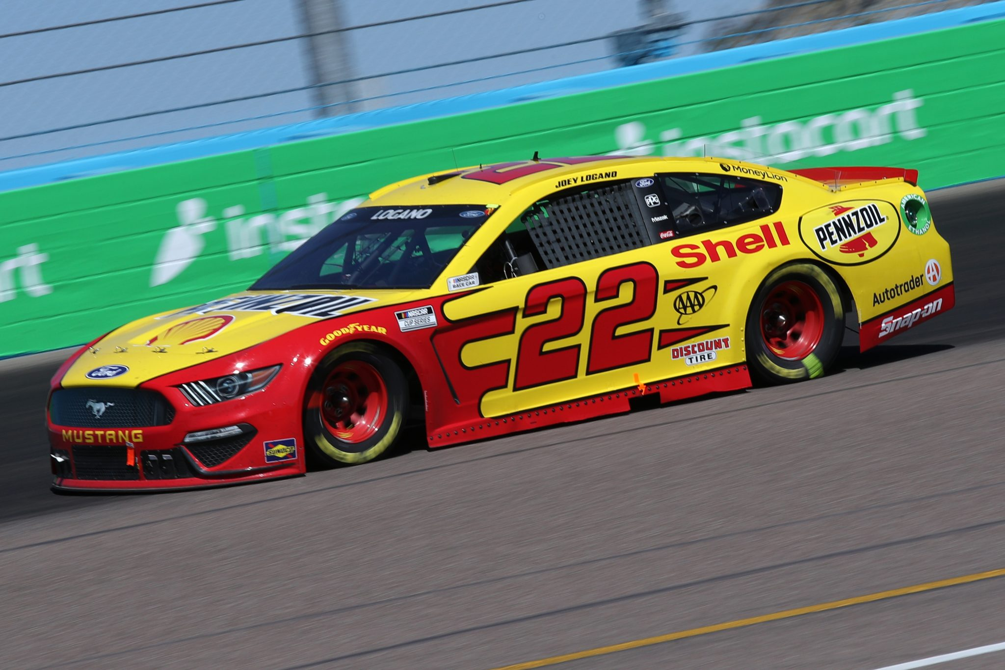 AVONDALE, ARIZONA - MARCH 14: Joey Logano, driver of the #22 Shell Pennzoil Ford, drives during the NASCAR Cup Series Instacart 500 at Phoenix Raceway on March 14, 2021 in Avondale, Arizona. (Photo by Sean Gardner/Getty Images) | Getty Images