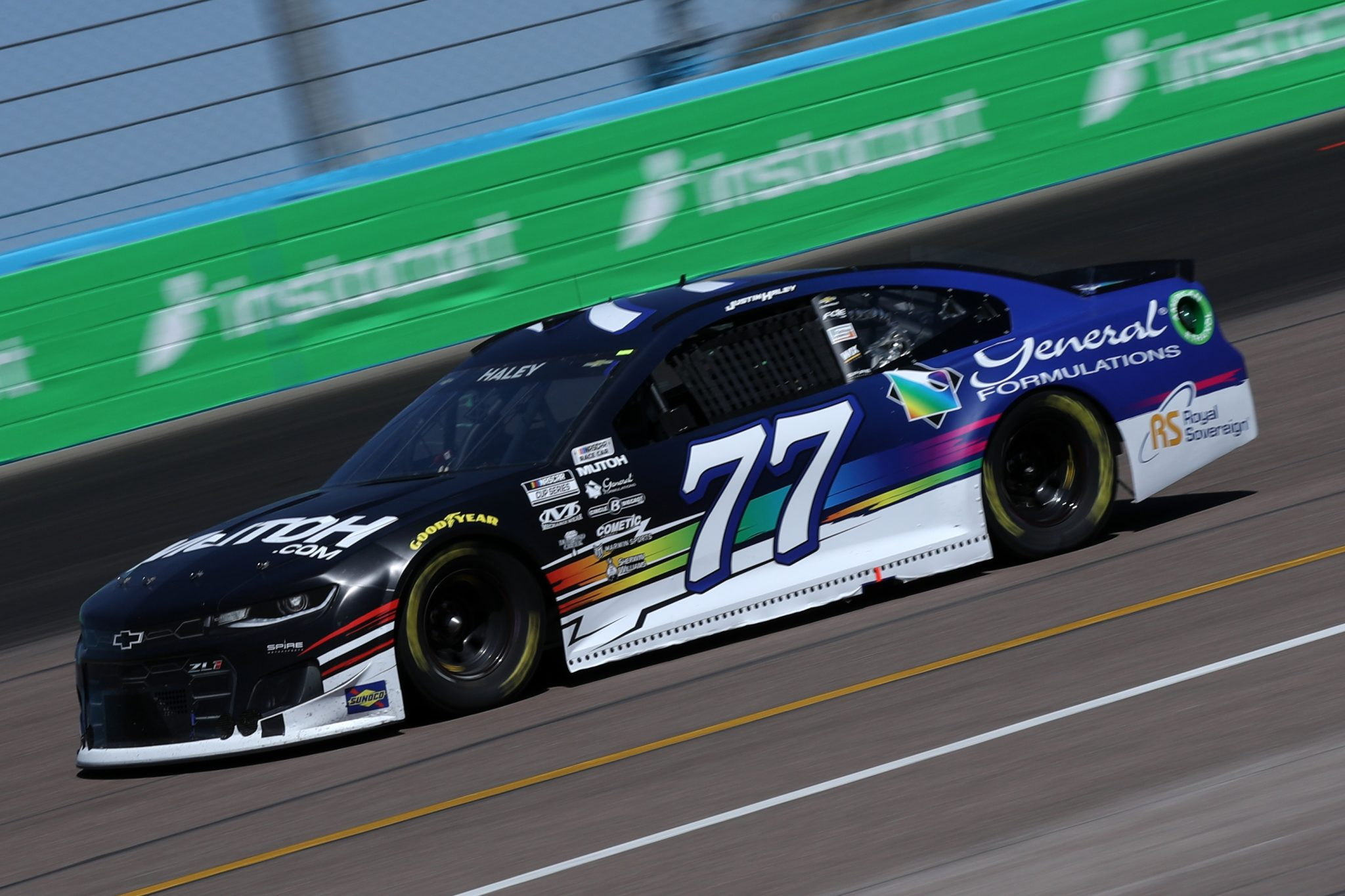 AVONDALE, ARIZONA - MARCH 14: Justin Haley, driver of the #77 Mutoh/General Formulations Chevrolet, drives during the NASCAR Cup Series Instacart 500 at Phoenix Raceway on March 14, 2021 in Avondale, Arizona. (Photo by Sean Gardner/Getty Images) | Getty Images