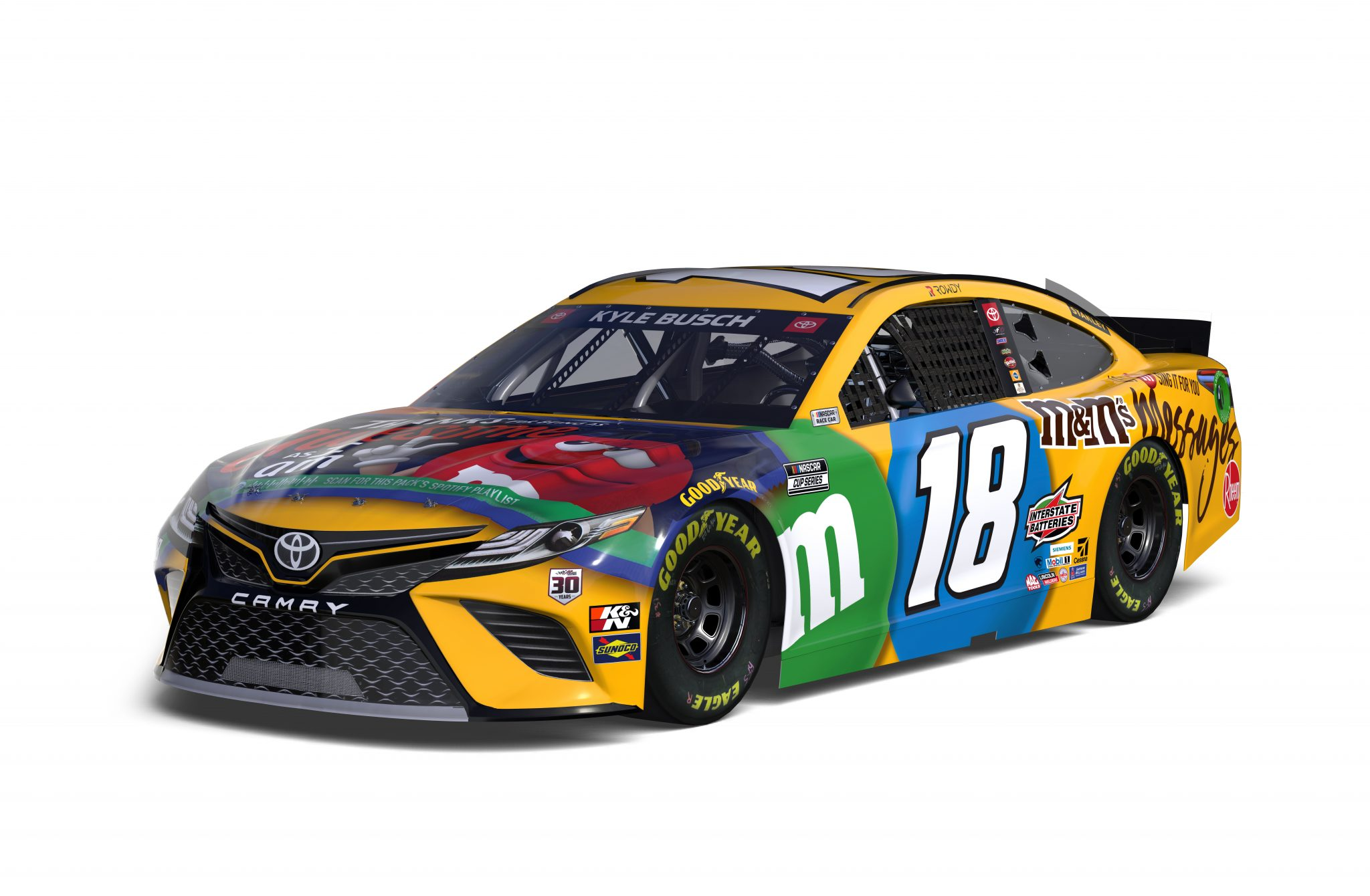 2021 Kyle Busch M&m Messages Camry Angle 3