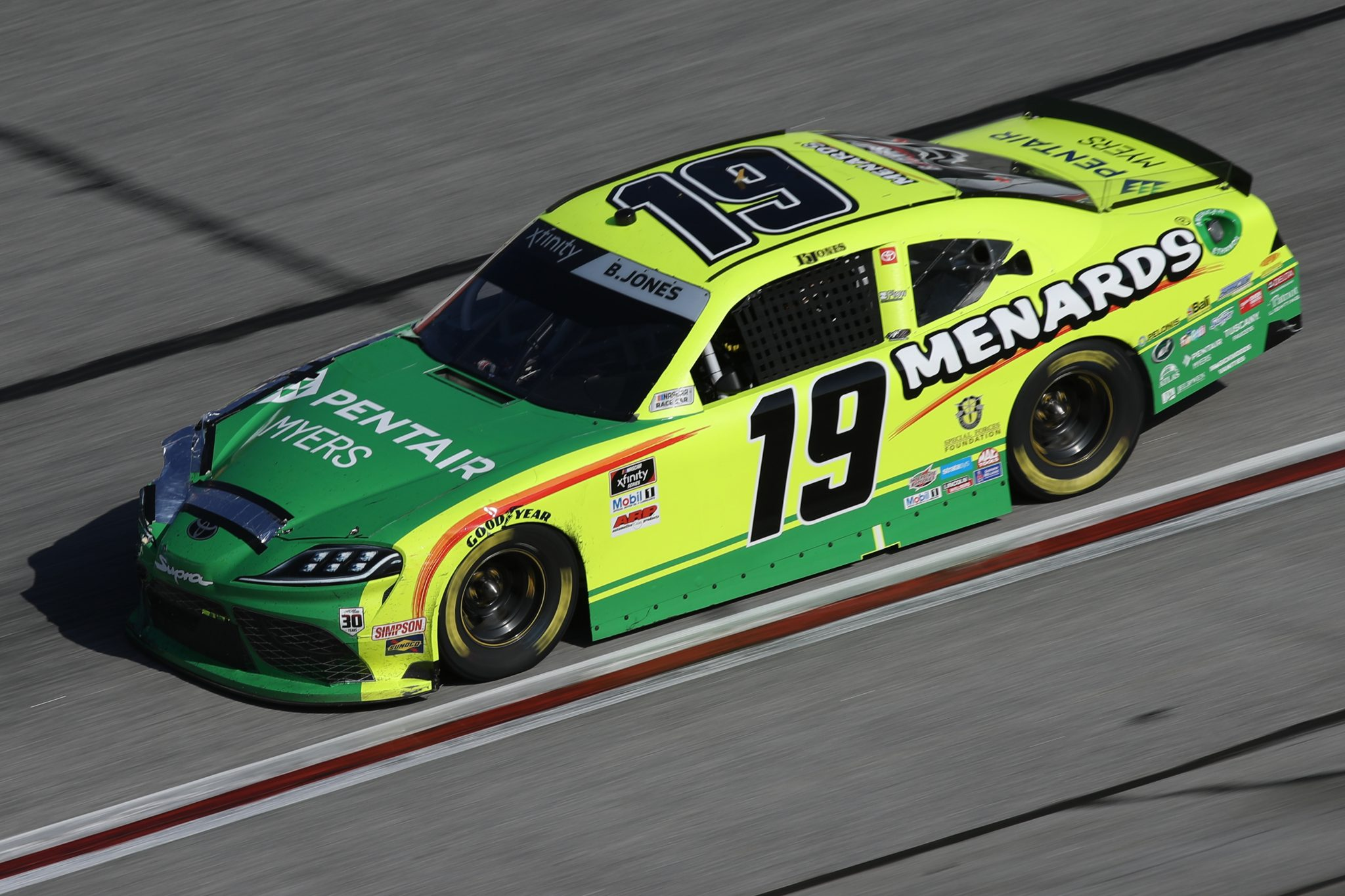 HAMPTON, GEORGIA - MARCH 20: Brandon Jones, driver of the #19 Menards/Pentair Toyota, drives during the NASCAR Xfinity Series EchoPark 250 at Atlanta Motor Speedway on March 20, 2021 in Hampton, Georgia. (Photo by Sean Gardner/Getty Images) | Getty Images
