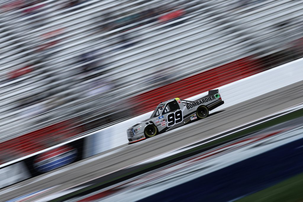 HAMPTON, GEORGIA - MARCH 20: Ben Rhodes, driver of the #99 Bombardier LearJet 75 Toyota, drives during the NASCAR Camping World Truck Series Fr8Auctions 200 at Atlanta Motor Speedway on March 20, 2021 in Hampton, Georgia. (Photo by Sean Gardner/Getty Images) | Getty Images