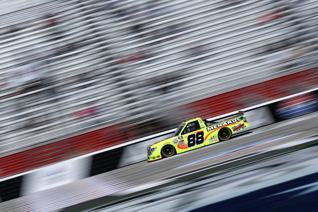 HAMPTON, GEORGIA - MARCH 20: Matt Crafton, driver of the #88 Flex Seal/Menards Toyota, drives during the NASCAR Camping World Truck Series Fr8Auctions 200 at Atlanta Motor Speedway on March 20, 2021 in Hampton, Georgia. (Photo by Sean Gardner/Getty Images) | Getty Images