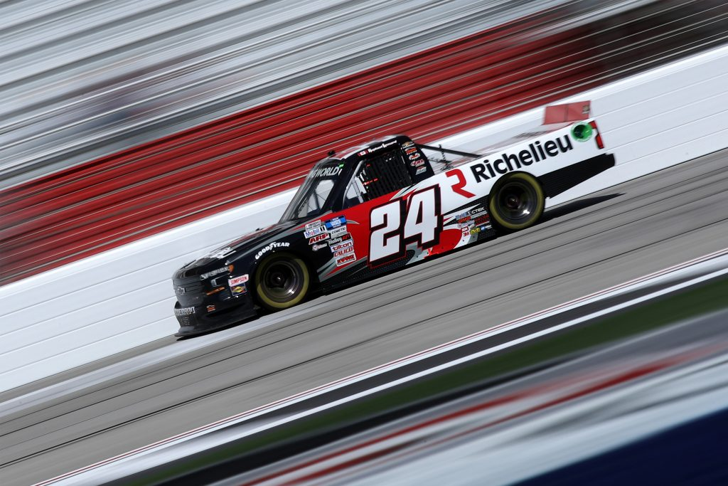 HAMPTON, GEORGIA - MARCH 20: Raphael Lessard, driver of the #24 Richelieu Chevrolet, drives during the NASCAR Camping World Truck Series Fr8Auctions 200 at Atlanta Motor Speedway on March 20, 2021 in Hampton, Georgia. (Photo by Sean Gardner/Getty Images) | Getty Images