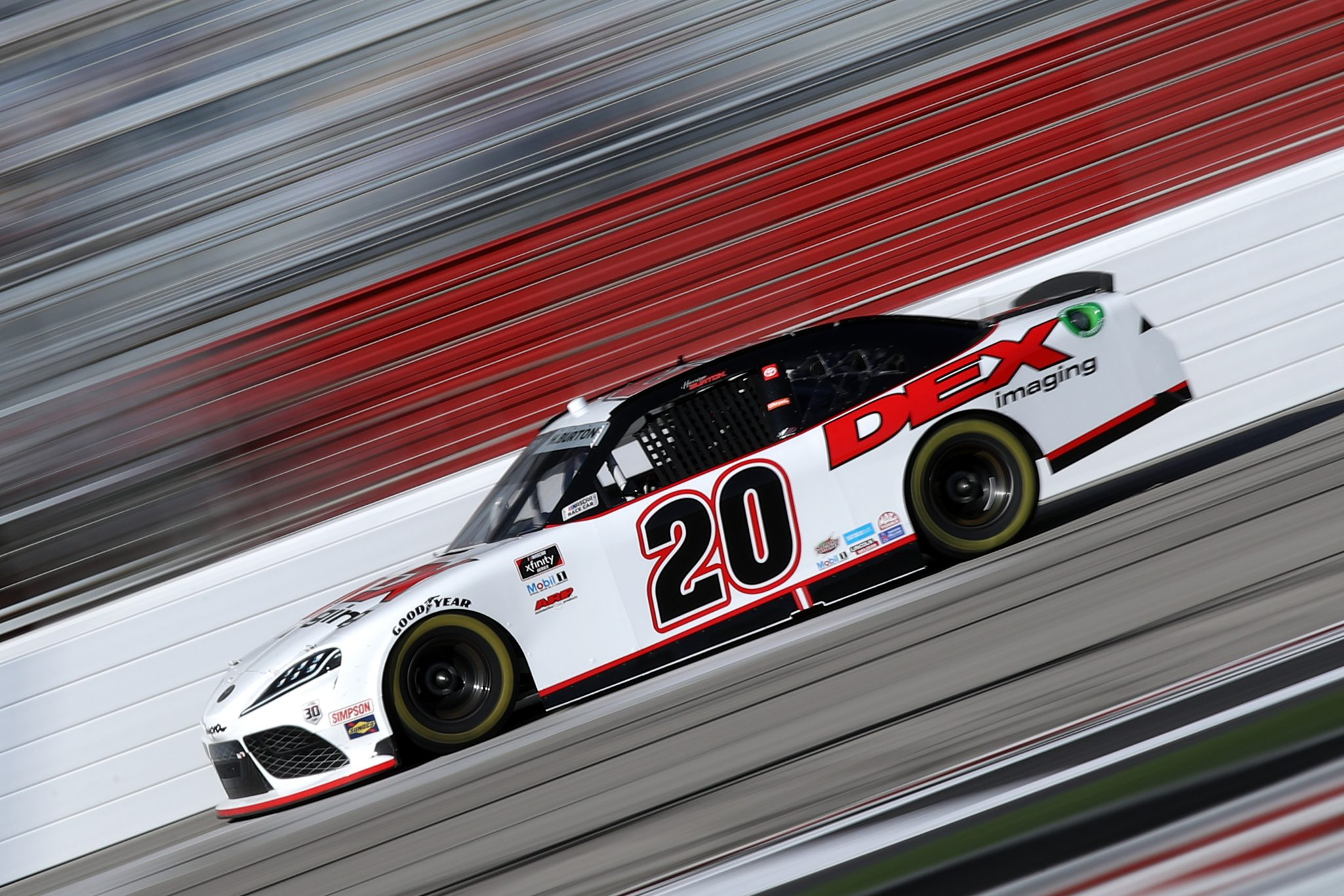 HAMPTON, GEORGIA - MARCH 20: Harrison Burton, driver of the #20 DEX Imaging Toyota, drives during the NASCAR Xfinity Series EchoPark 250 at Atlanta Motor Speedway on March 20, 2021 in Hampton, Georgia. (Photo by Sean Gardner/Getty Images) | Getty Images