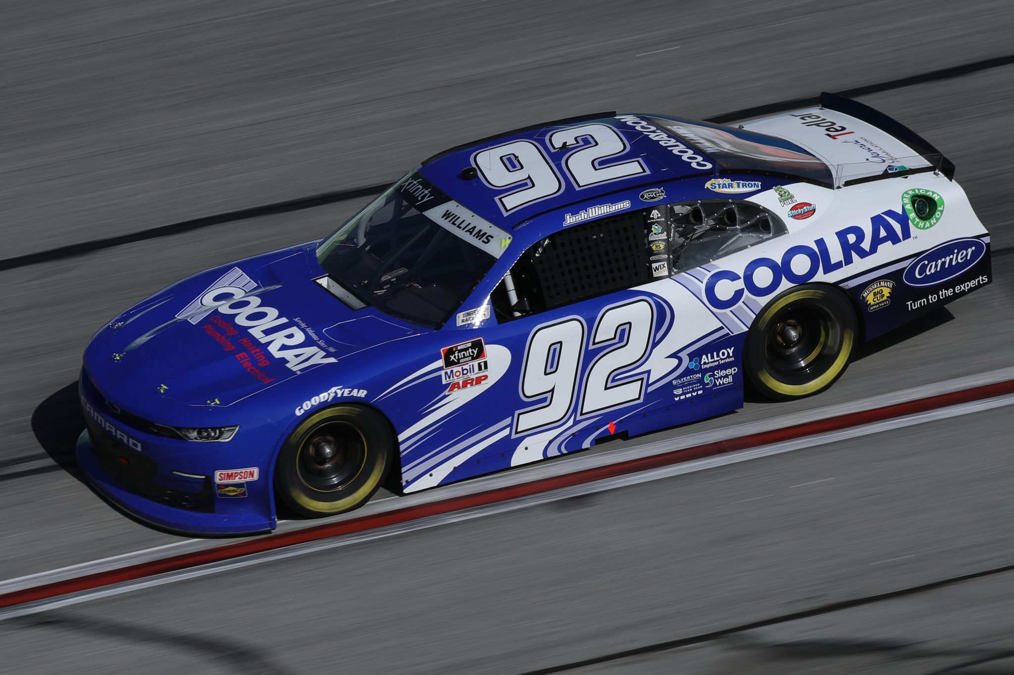 HAMPTON, GEORGIA - MARCH 20: Josh Williams, driver of the #92 Coolray Heating & AC Chevrolet, drives during the NASCAR Xfinity Series EchoPark 250 at Atlanta Motor Speedway on March 20, 2021 in Hampton, Georgia. (Photo by Sean Gardner/Getty Images) | Getty Images