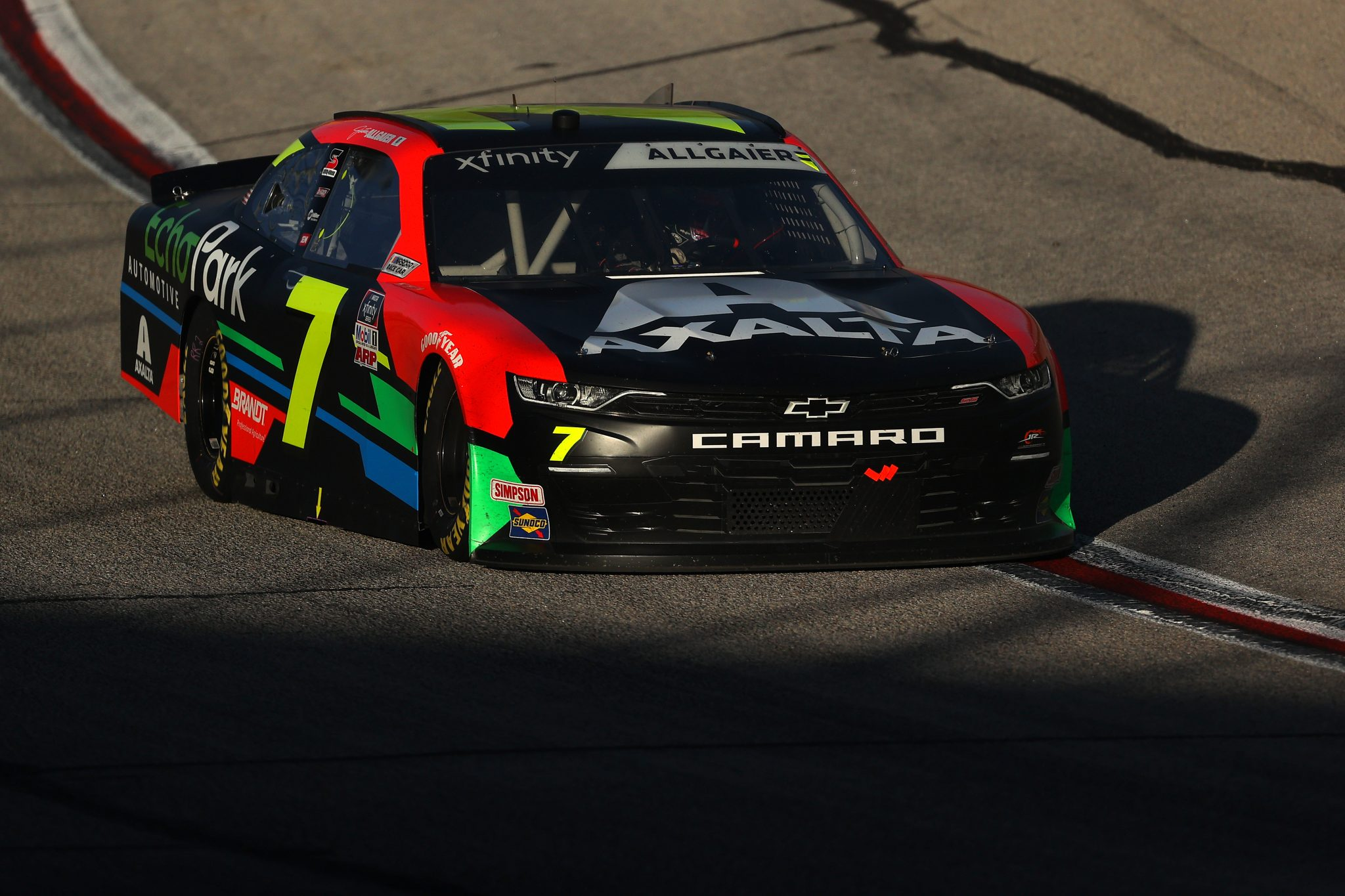 HAMPTON, GEORGIA - MARCH 20: Justin Allgaier, driver of the #7 Axalta/EchoPark Automotive Chevrolet, drives during the NASCAR Xfinity Series EchoPark 250 at Atlanta Motor Speedway on March 20, 2021 in Hampton, Georgia. (Photo by Kevin C. Cox/Getty Images)   Getty Images