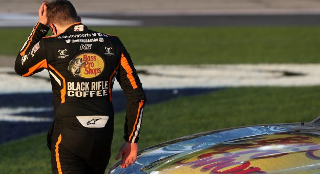 HAMPTON, GEORGIA - MARCH 20: Noah Gragson, driver of the #9 Bass Pros Shops/TrueTimber/BRCC Chevrolet, exits his car after the NASCAR Xfinity Series EchoPark 250 at Atlanta Motor Speedway on March 20, 2021 in Hampton, Georgia. (Photo by Sean Gardner/Getty Images) | Getty Images