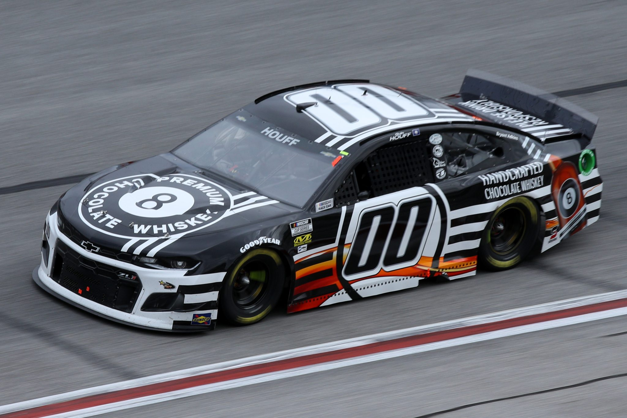 HAMPTON, GEORGIA - MARCH 21: Quin Houff, driver of the #00 8 Ball Chocolate Whiskey Chevrolet, drives during the NASCAR Cup Series Folds of Honor QuikTrip 500 at Atlanta Motor Speedway on March 21, 2021 in Hampton, Georgia. (Photo by Sean Gardner/Getty Images) | Getty Images