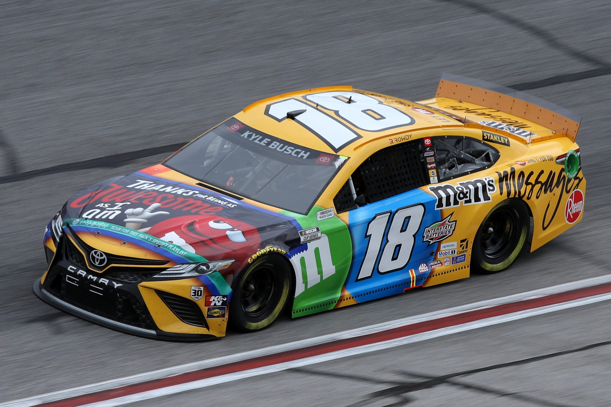 HAMPTON, GEORGIA - MARCH 21: Kyle Busch, driver of the #18 M&M's Messages Toyota, drives during the NASCAR Cup Series Folds of Honor QuikTrip 500 at Atlanta Motor Speedway on March 21, 2021 in Hampton, Georgia. (Photo by Sean Gardner/Getty Images) | Getty Images